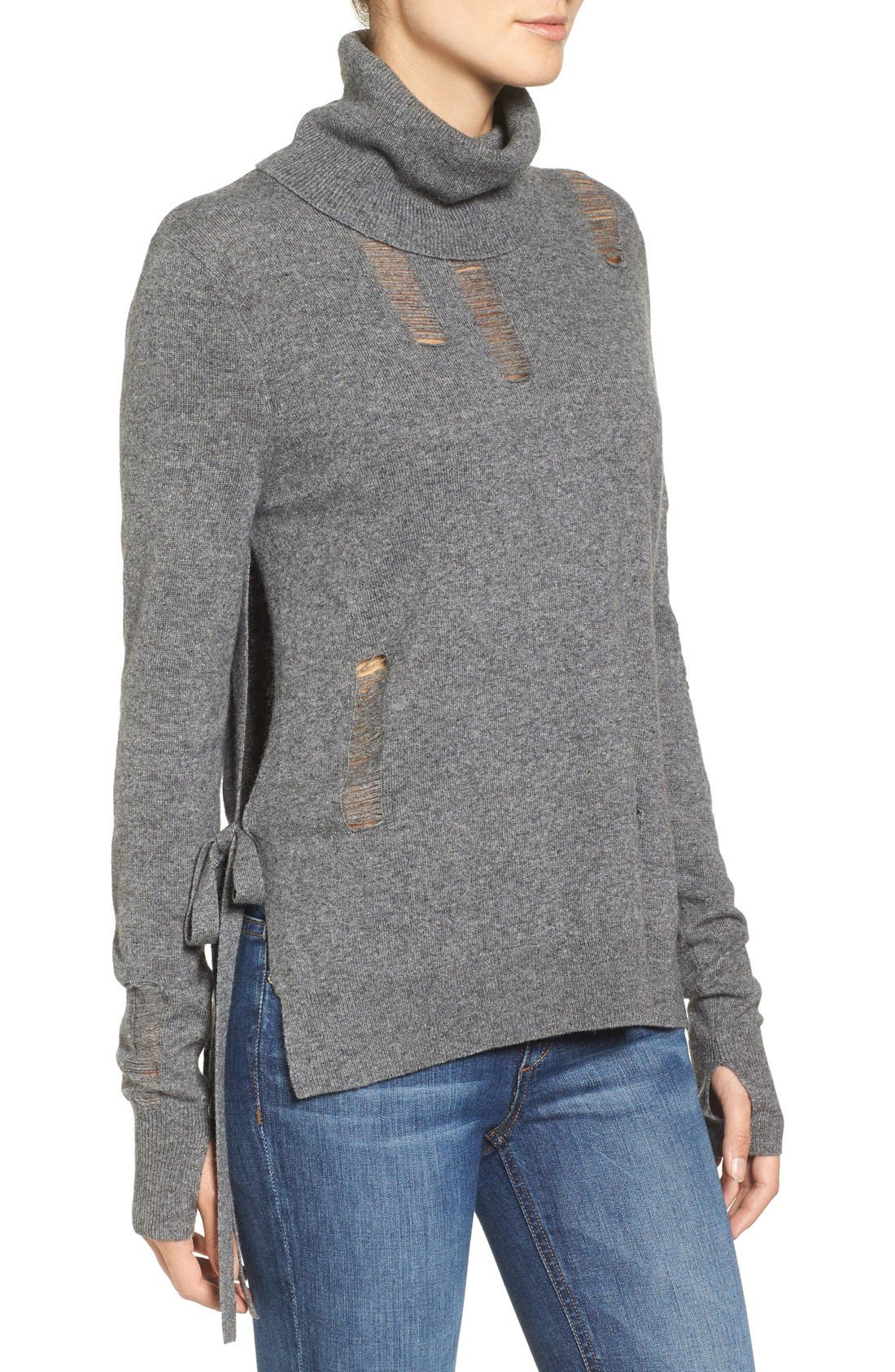 Distressed Turtleneck Sweater,                             Alternate thumbnail 6, color,