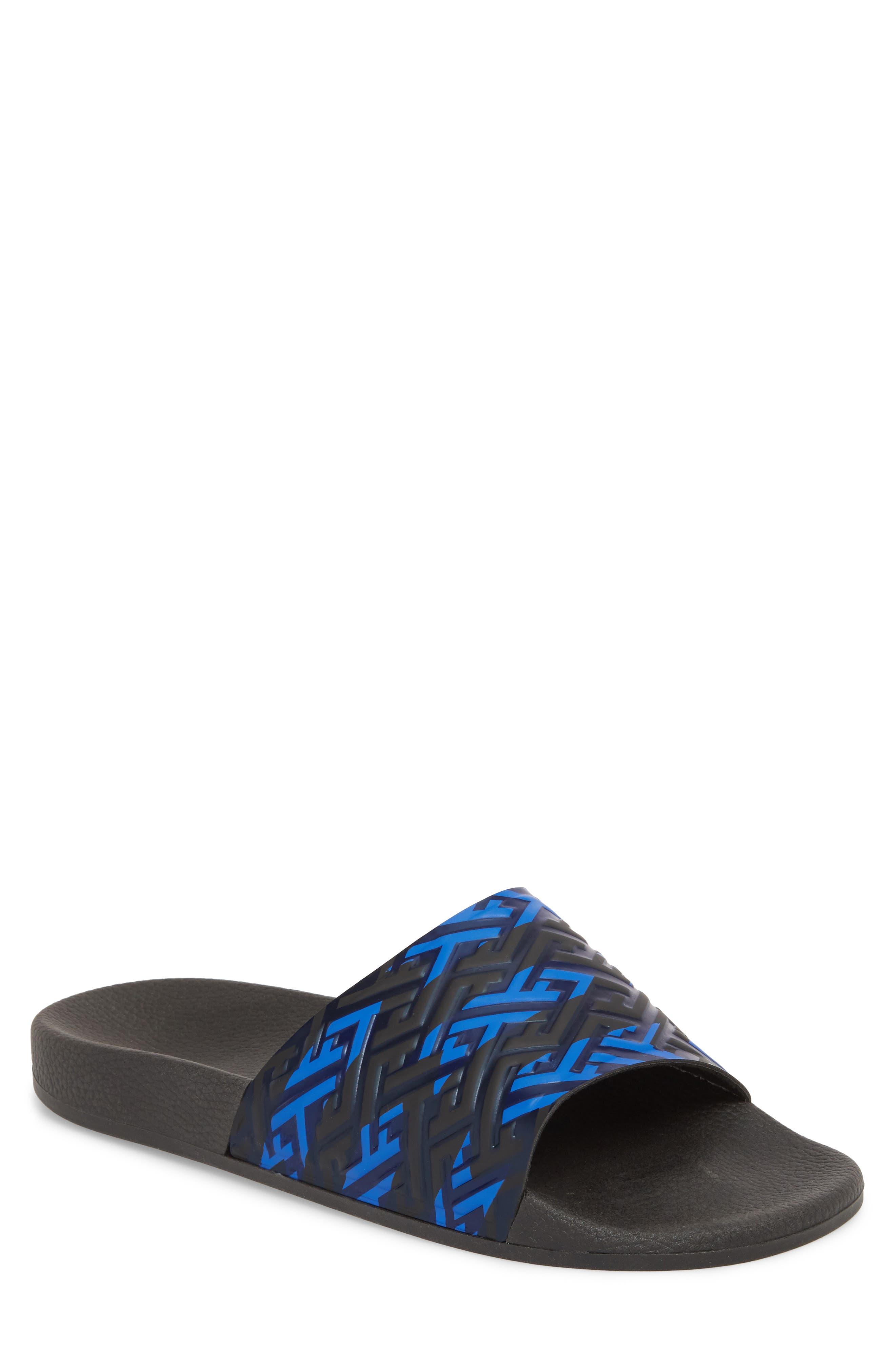 Patterned Sport Slide,                         Main,                         color, BLUE