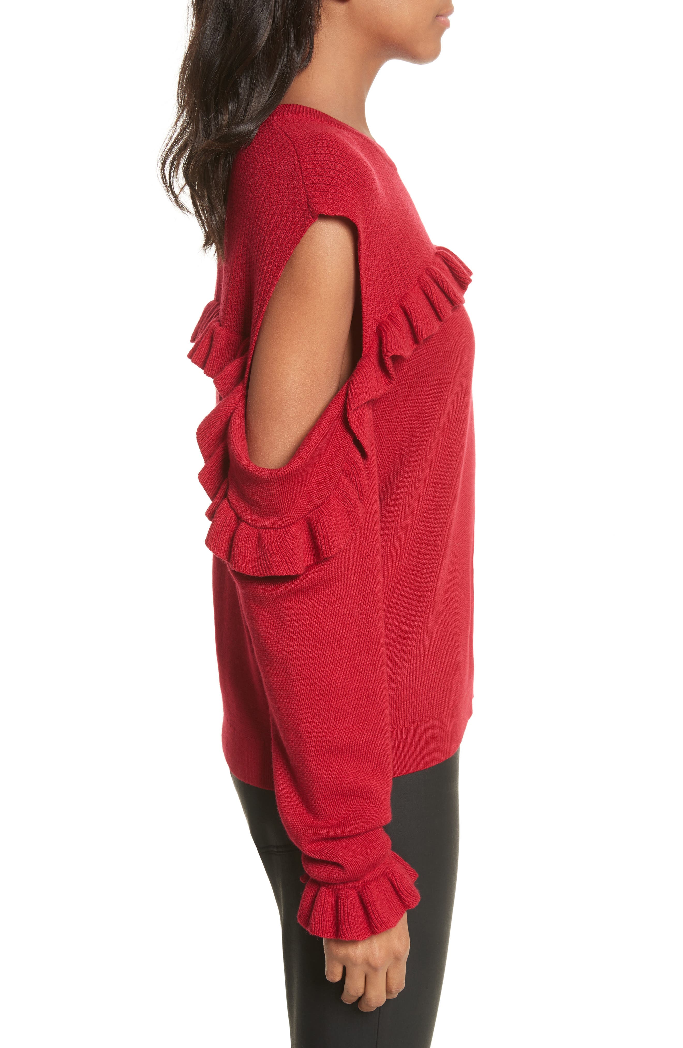 Ruffle Cold Shoulder Merino Wool Sweater,                             Alternate thumbnail 3, color,                             600