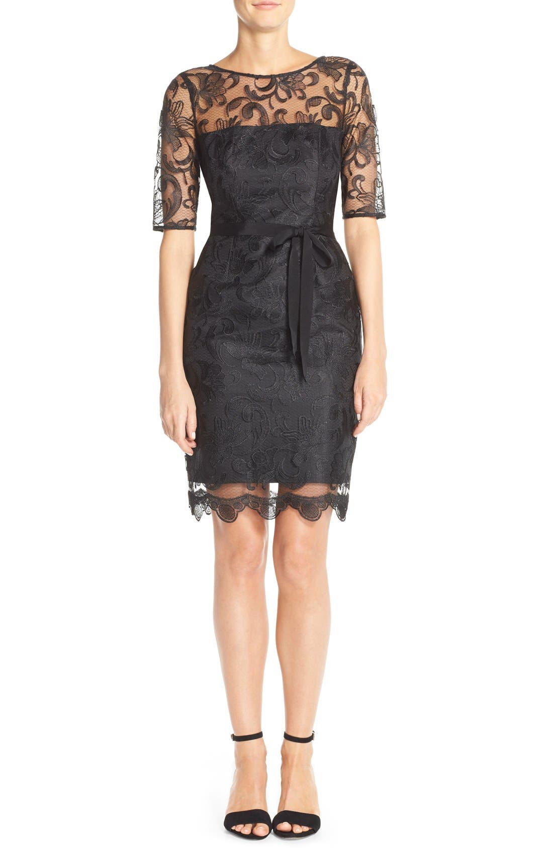 Illusion Yoke Lace Sheath Dress,                         Main,                         color, 001