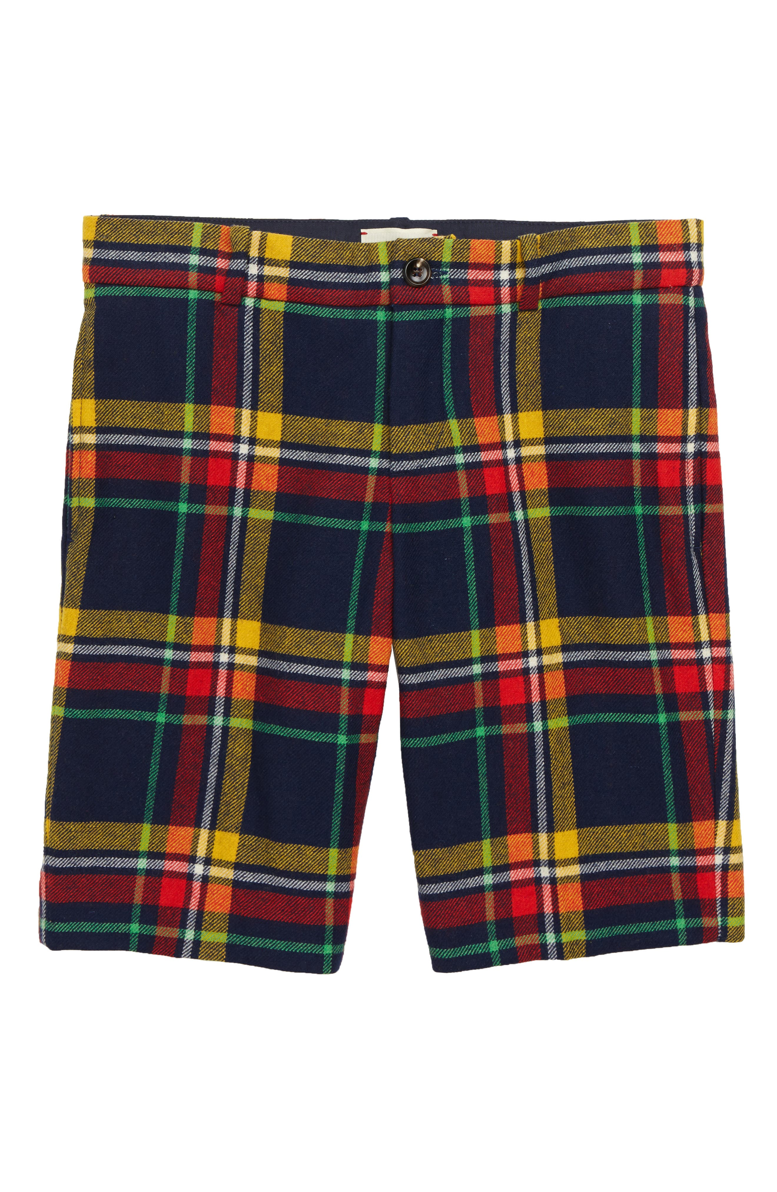 Plaid Bermuda Shorts,                             Main thumbnail 1, color,                             OLTREMARE/ PEPPER RED