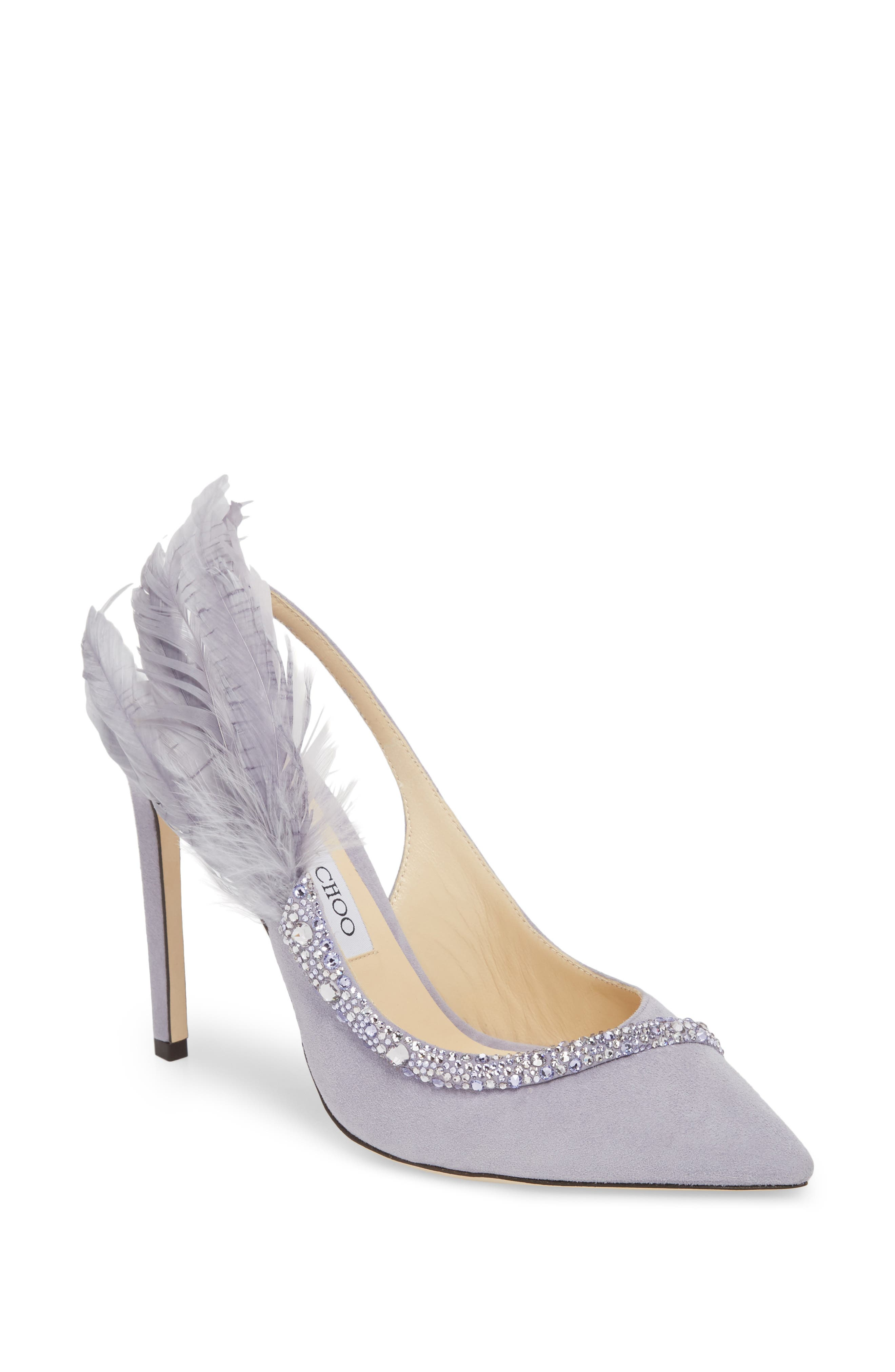 Tacey Crystal & Feather Embellished Slingback Sandal,                         Main,                         color, 530