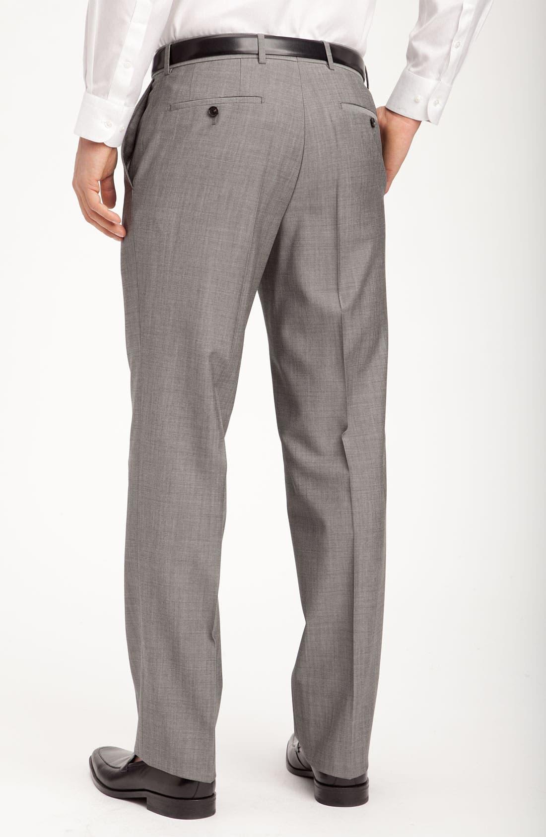 BOSS HUGO BOSS 'Jeffrey US' Flat Front Pinpoint Wool Trousers,                             Alternate thumbnail 3, color,                             022