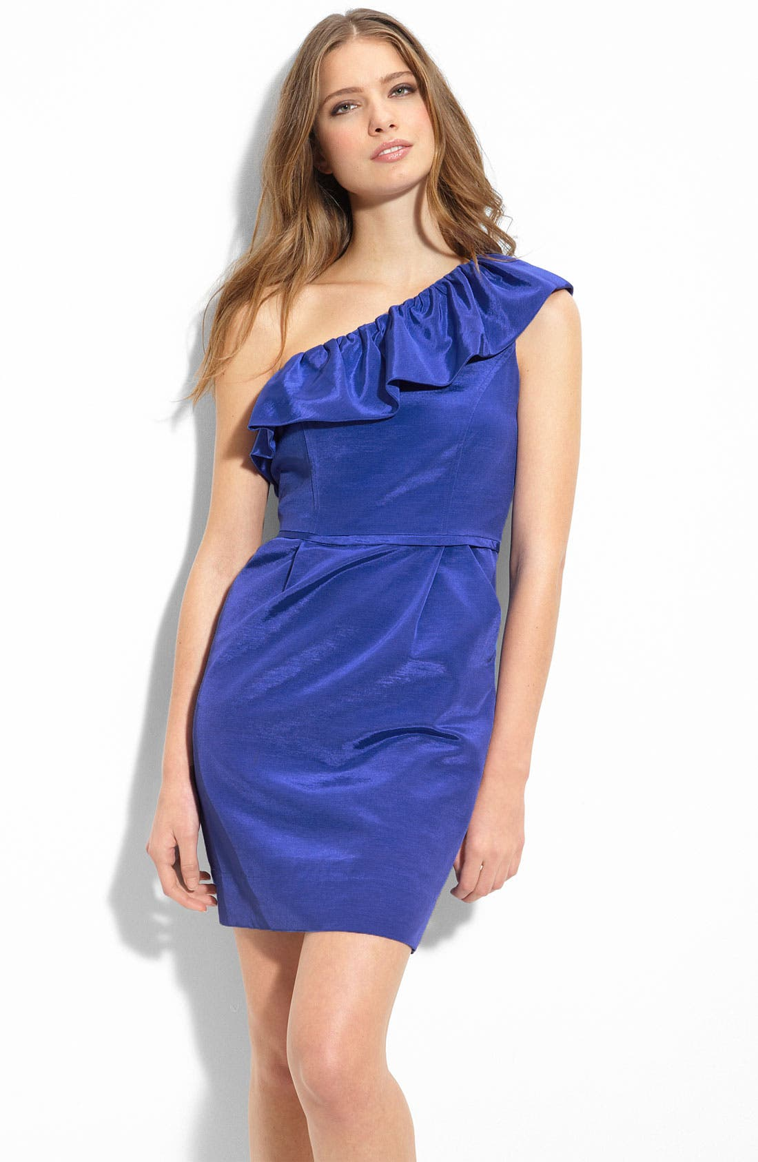 Ruffle One Shoulder Dress,                         Main,                         color, 400