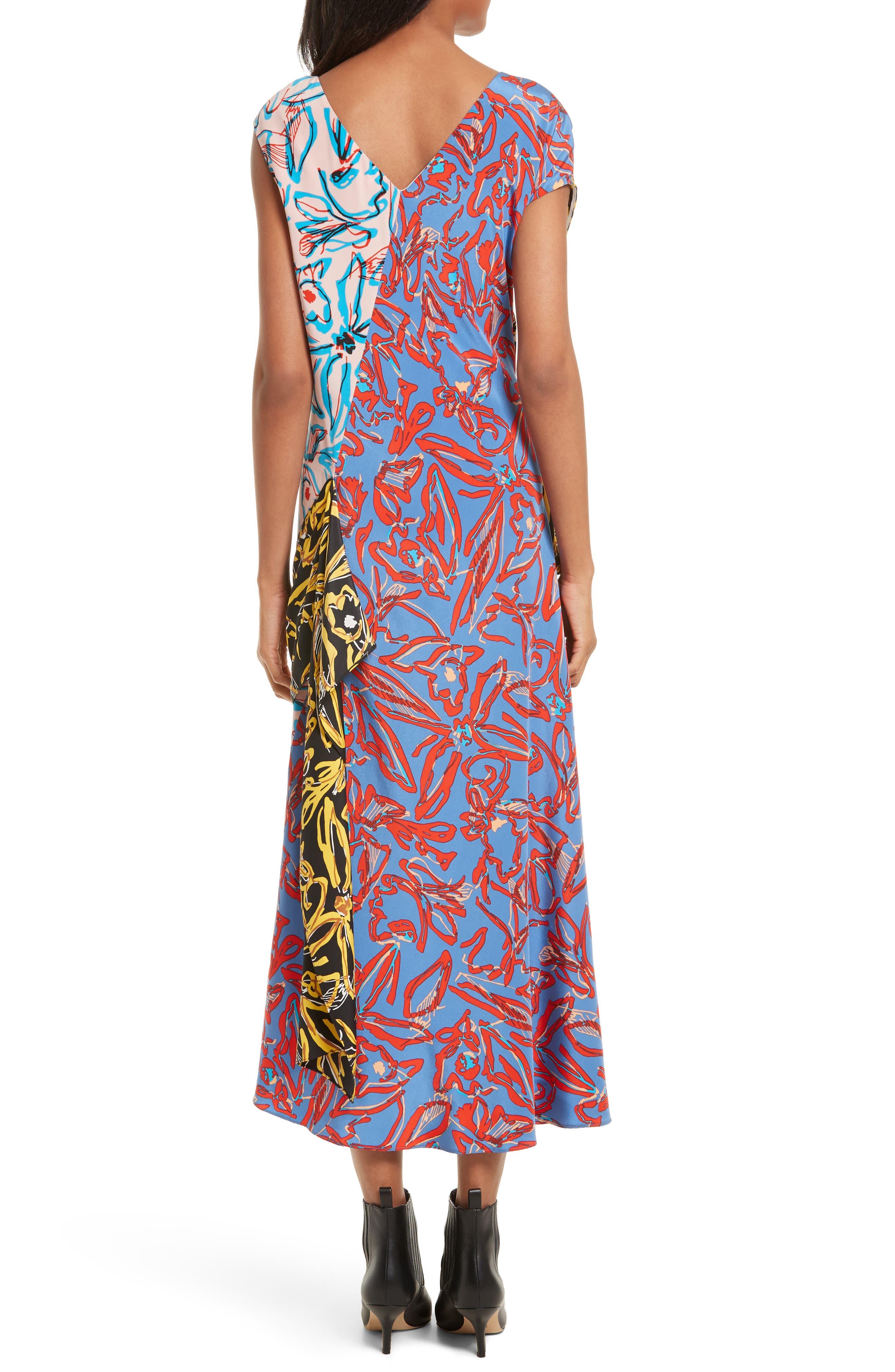Asymmetrical Mixed Print Silk Maxi Dress,                             Alternate thumbnail 2, color,                             100
