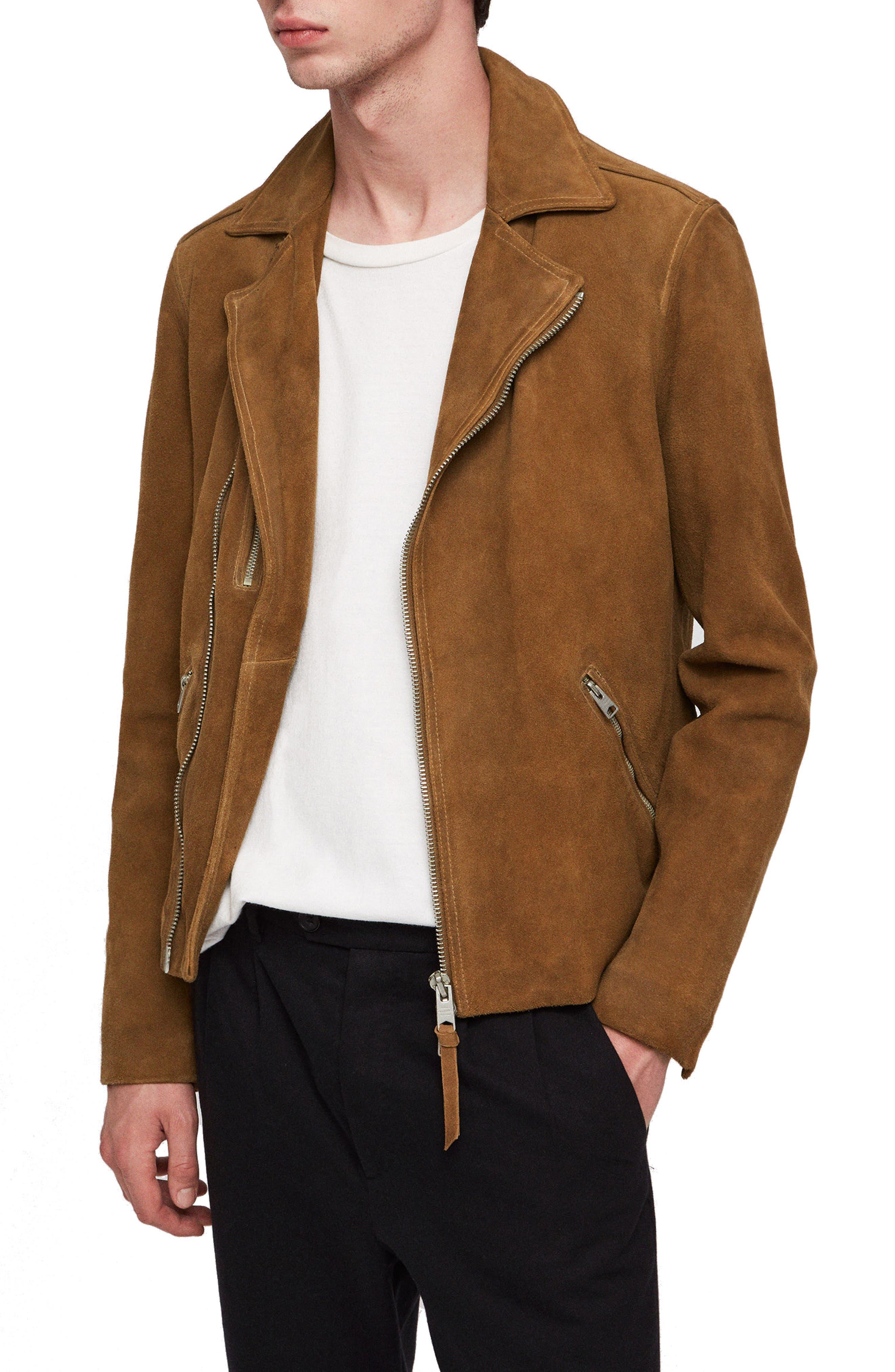 Judd Slim Fit Leather Biker Jacket,                             Alternate thumbnail 3, color,                             219