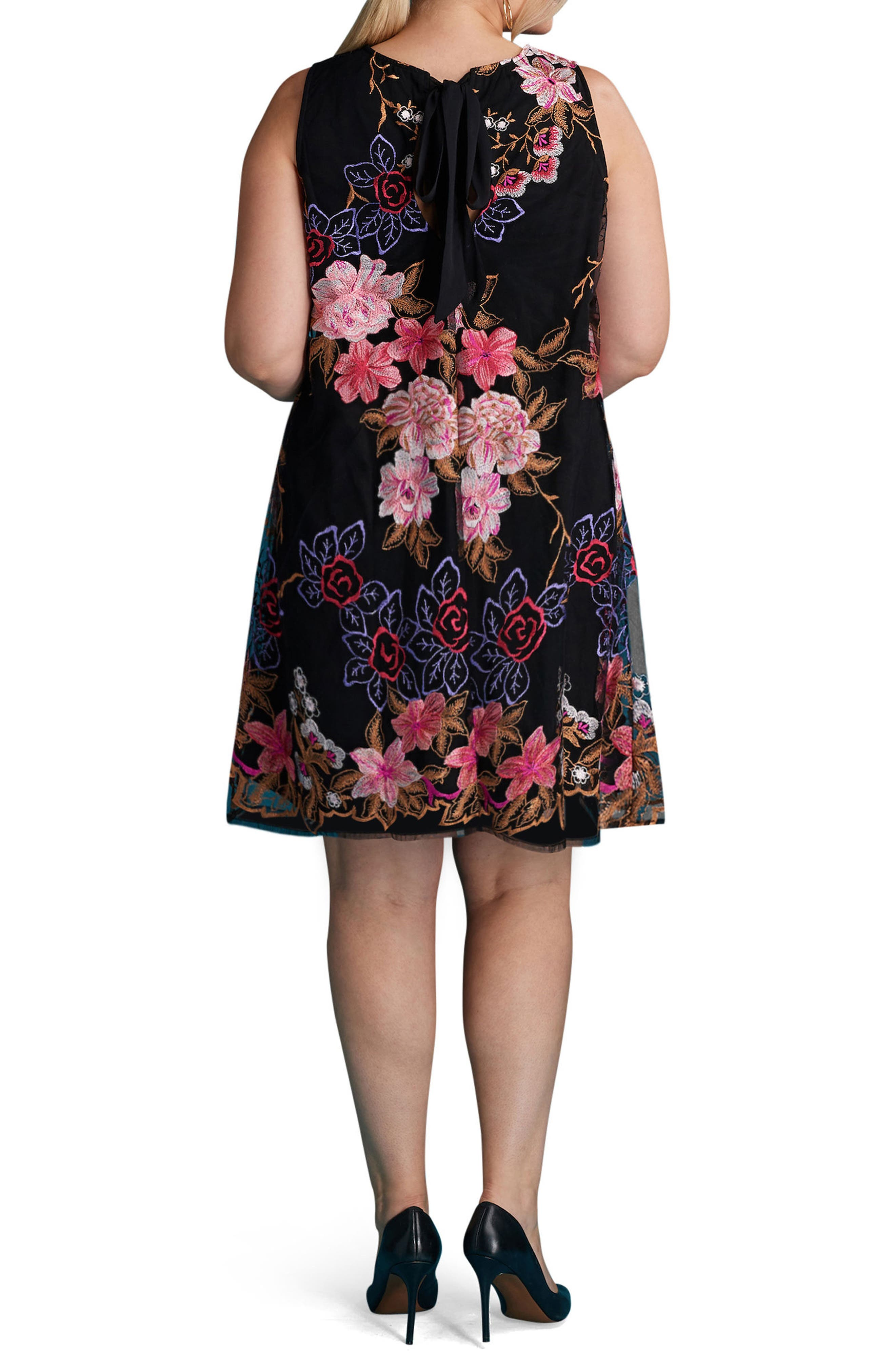 Floral Embroidered Shift Dress,                             Alternate thumbnail 2, color,                             010