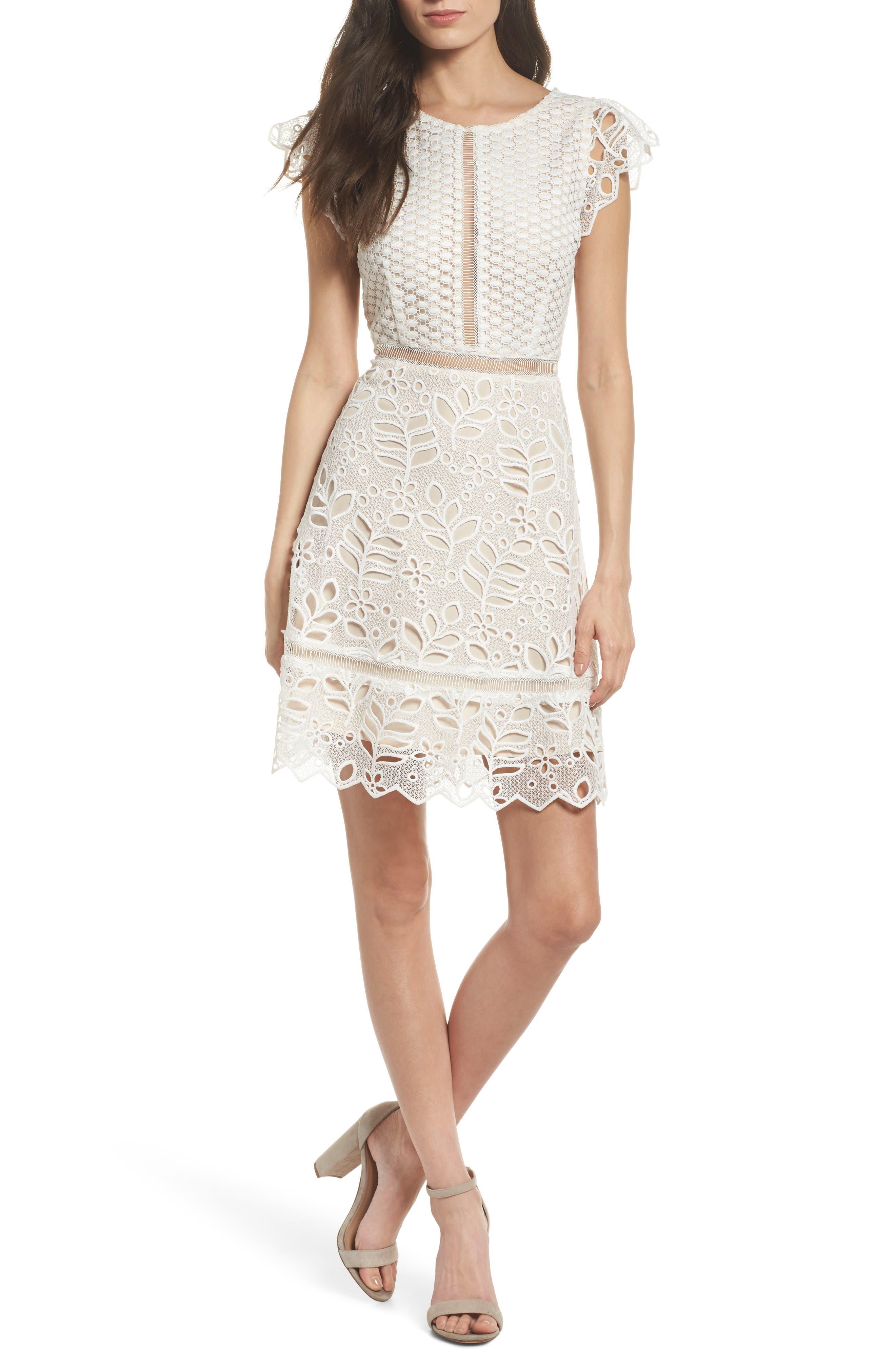Ariane Mix Lace Dress,                             Main thumbnail 1, color,