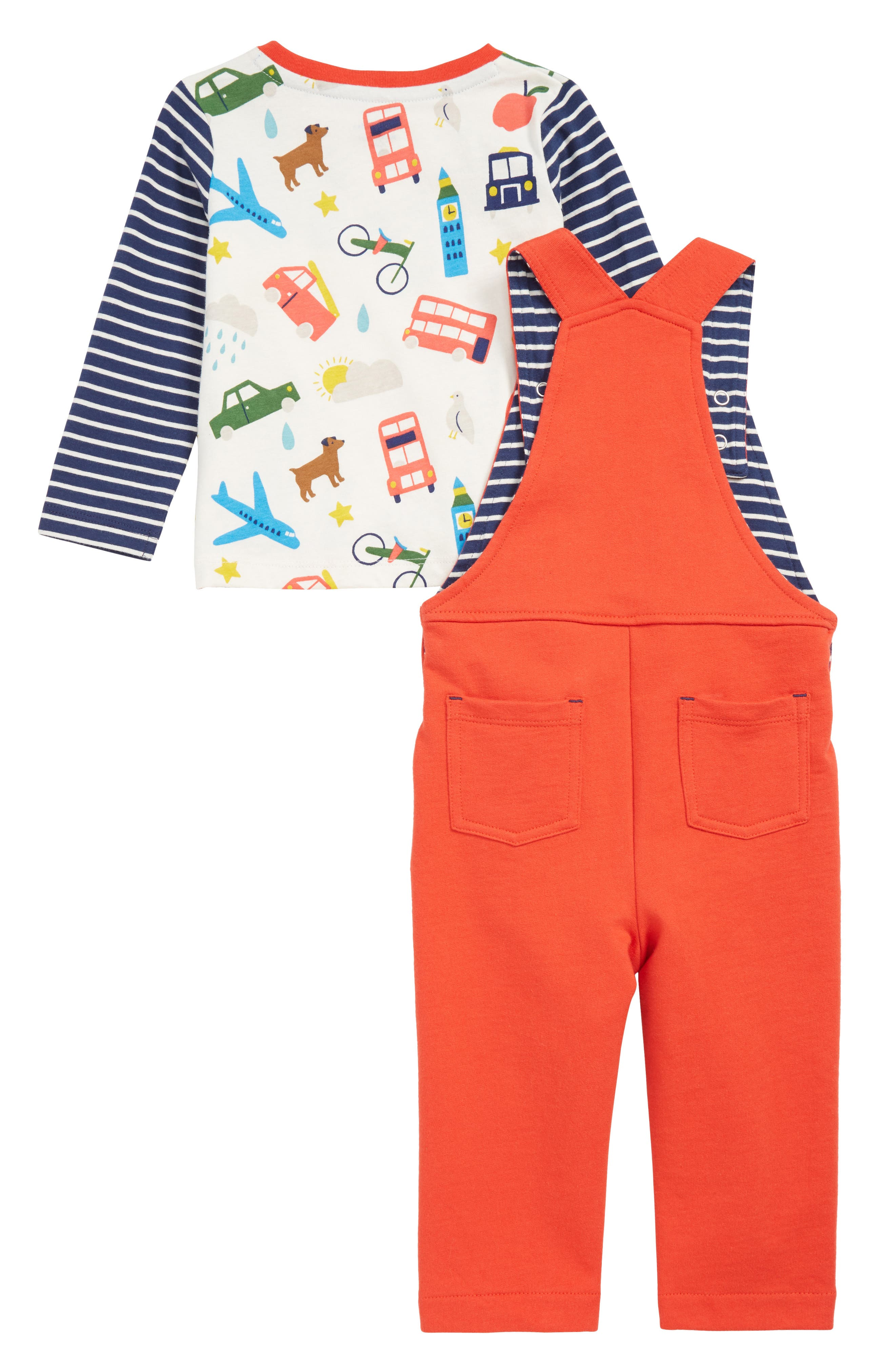 MINI BODEN,                             Fun Dungaree Play T-Shirt & Overalls Set,                             Alternate thumbnail 2, color,                             RED BEAM RED