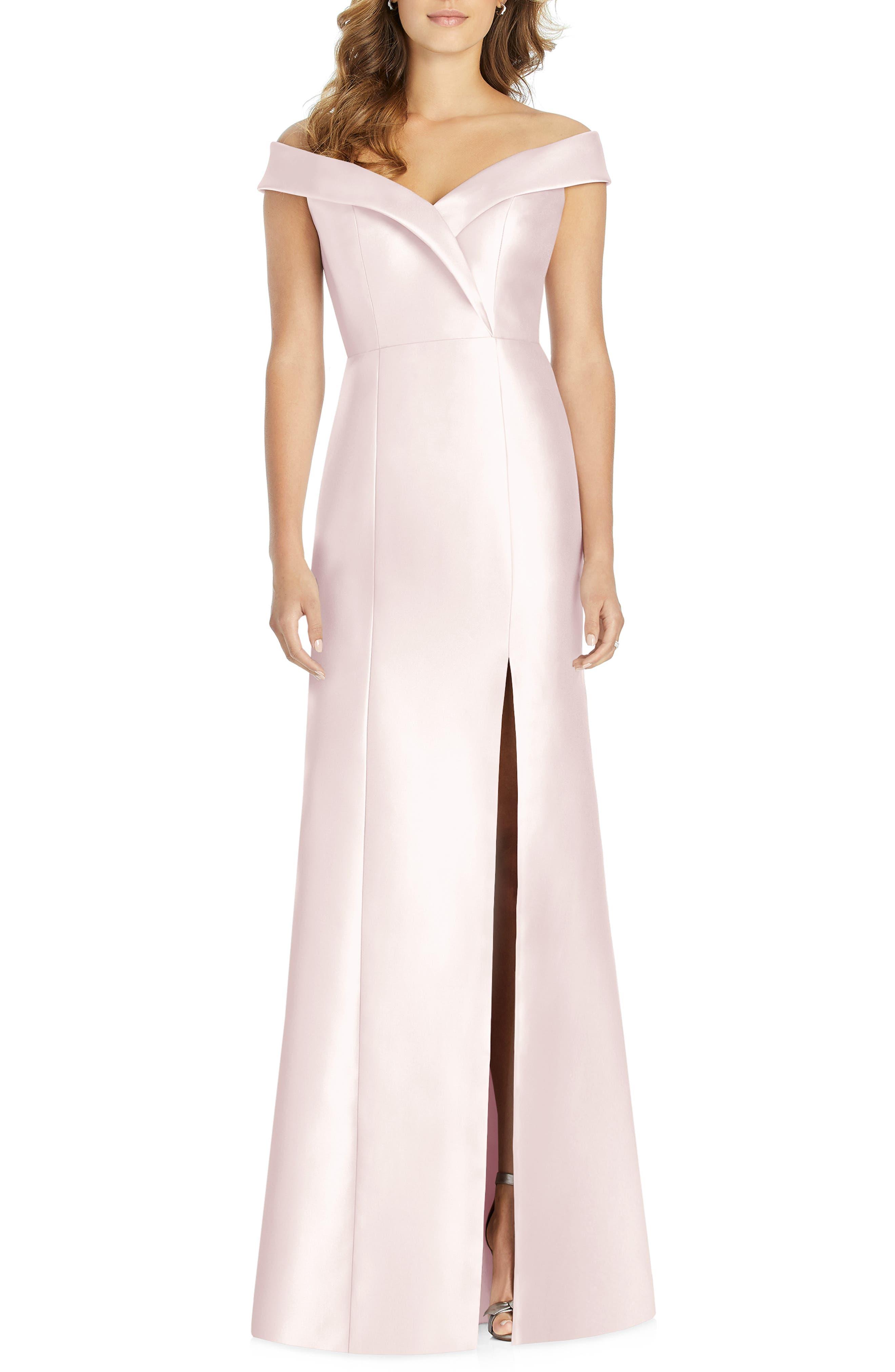 Alfred Sung Portrait Collar Satin Gown, Pink