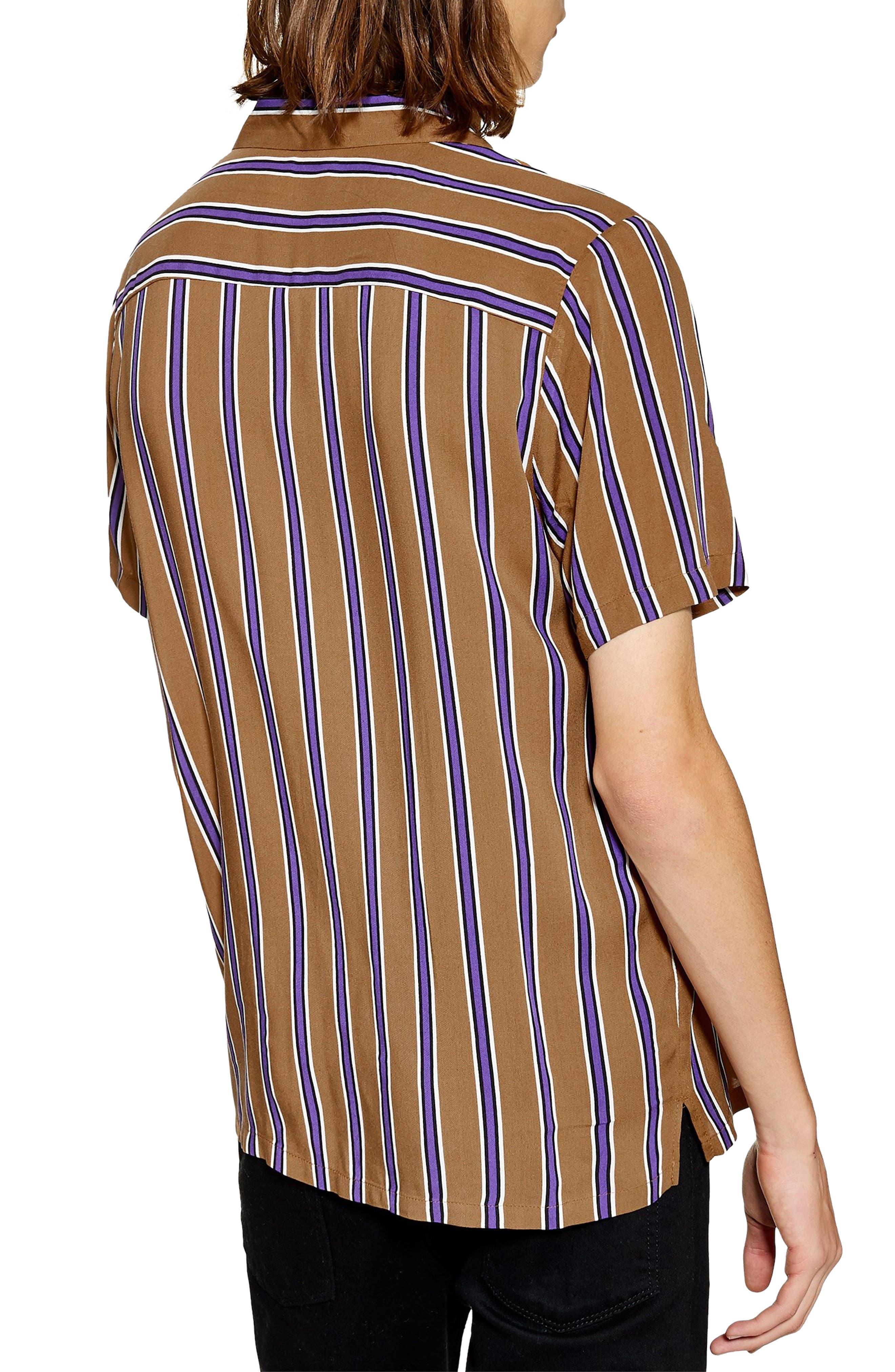 TOPMAN,                             Stripe Revere Collar Camp Shirt,                             Alternate thumbnail 3, color,                             BROWN MULTI