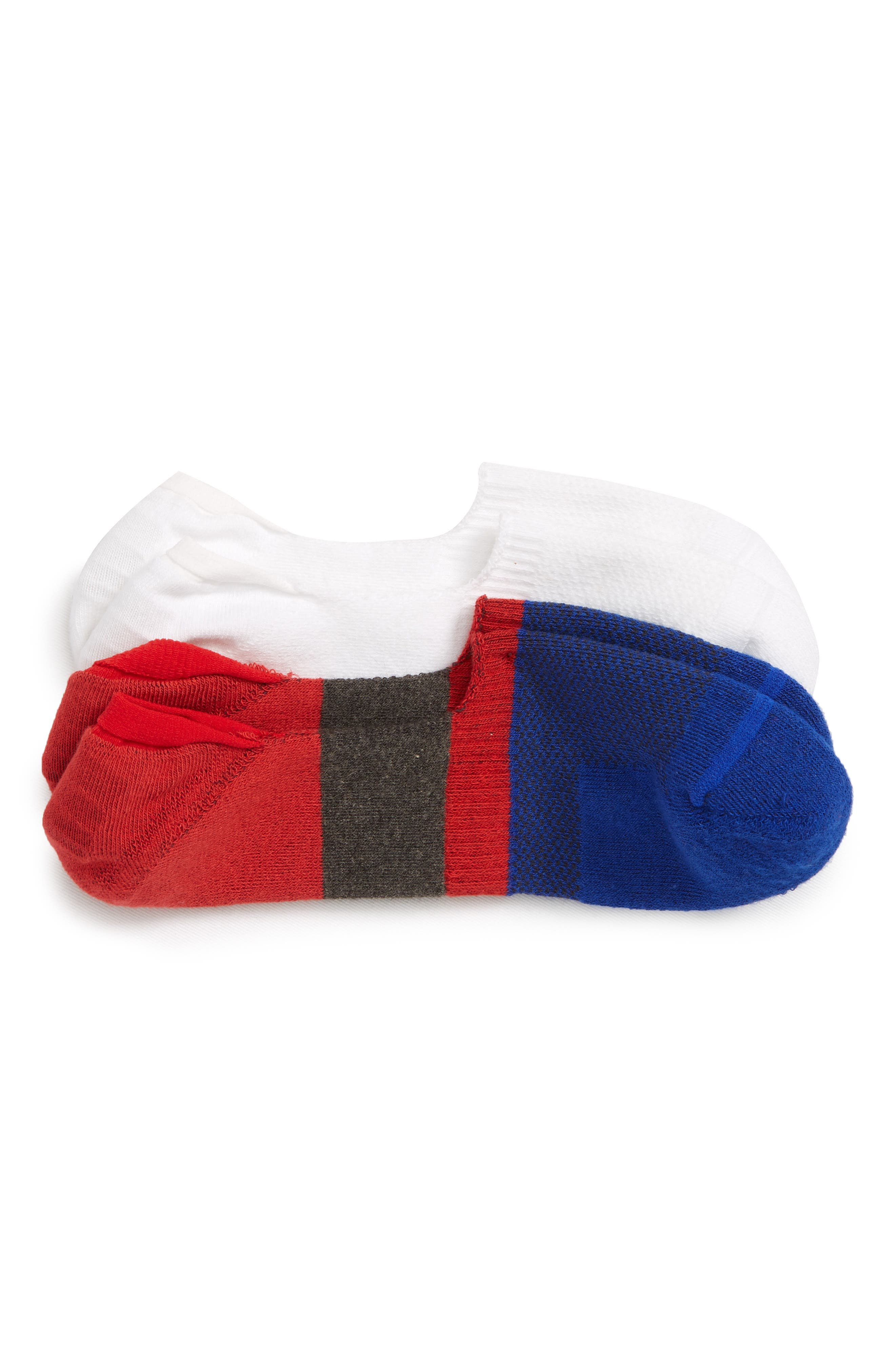 Nordstrom Mens Shop 2-Pack Performance Liner Socks,                             Main thumbnail 1, color,                             RED/ WHITE/ BLUE