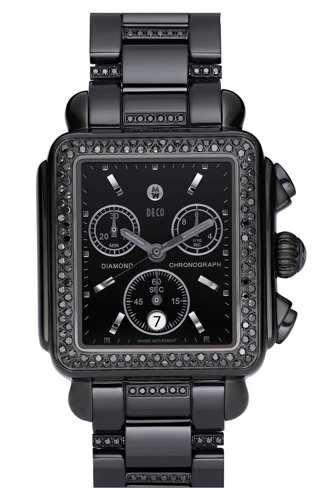 'Deco Noir' Diamond Watch Case,                             Alternate thumbnail 5, color,                             001