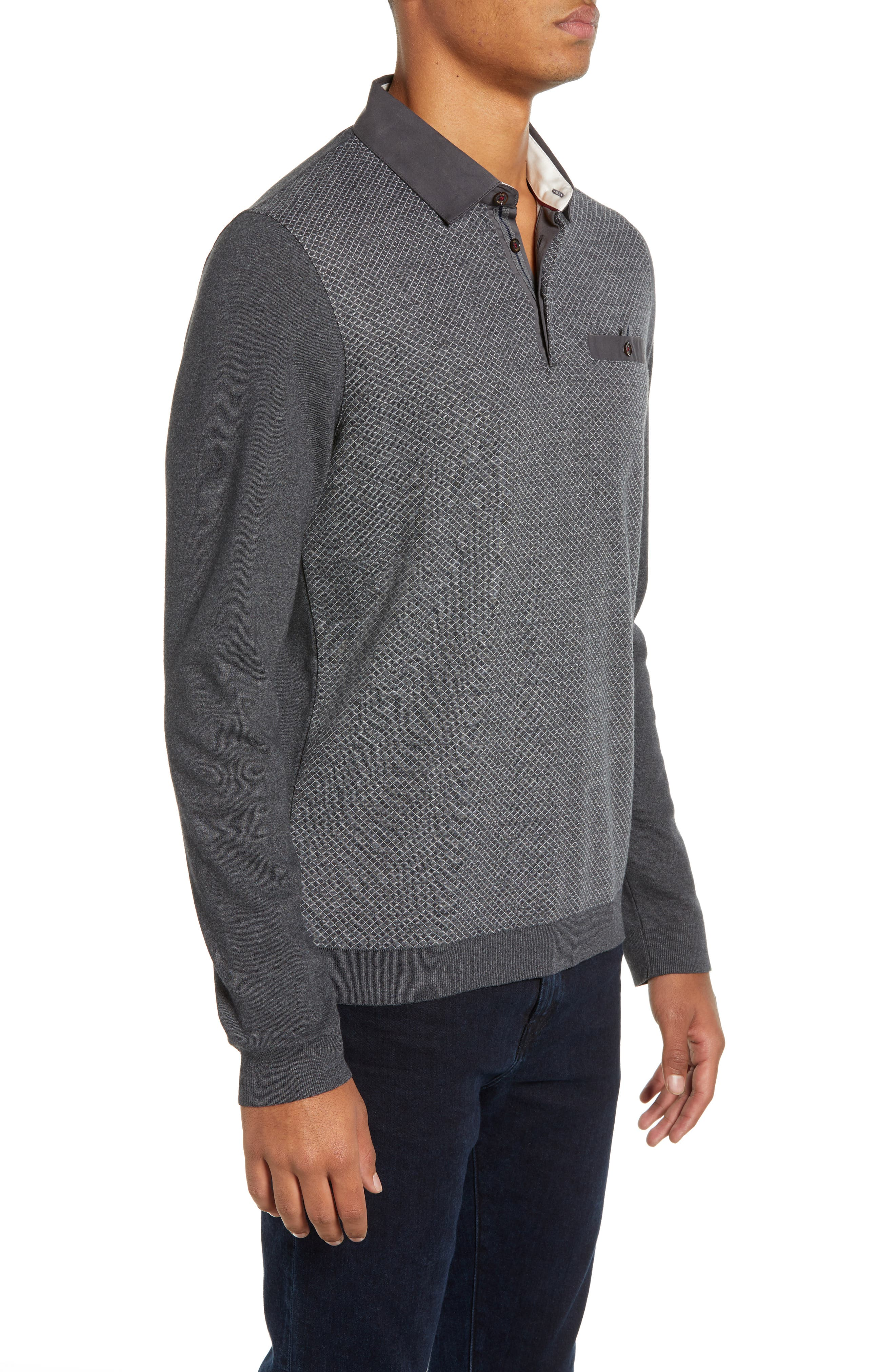 Friend Slim Fit Long Sleeve Polo,                             Alternate thumbnail 3, color,                             CHARCOAL