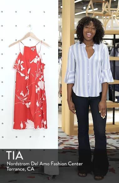 Floral Ruffle Front Sheath Dress, sales video thumbnail