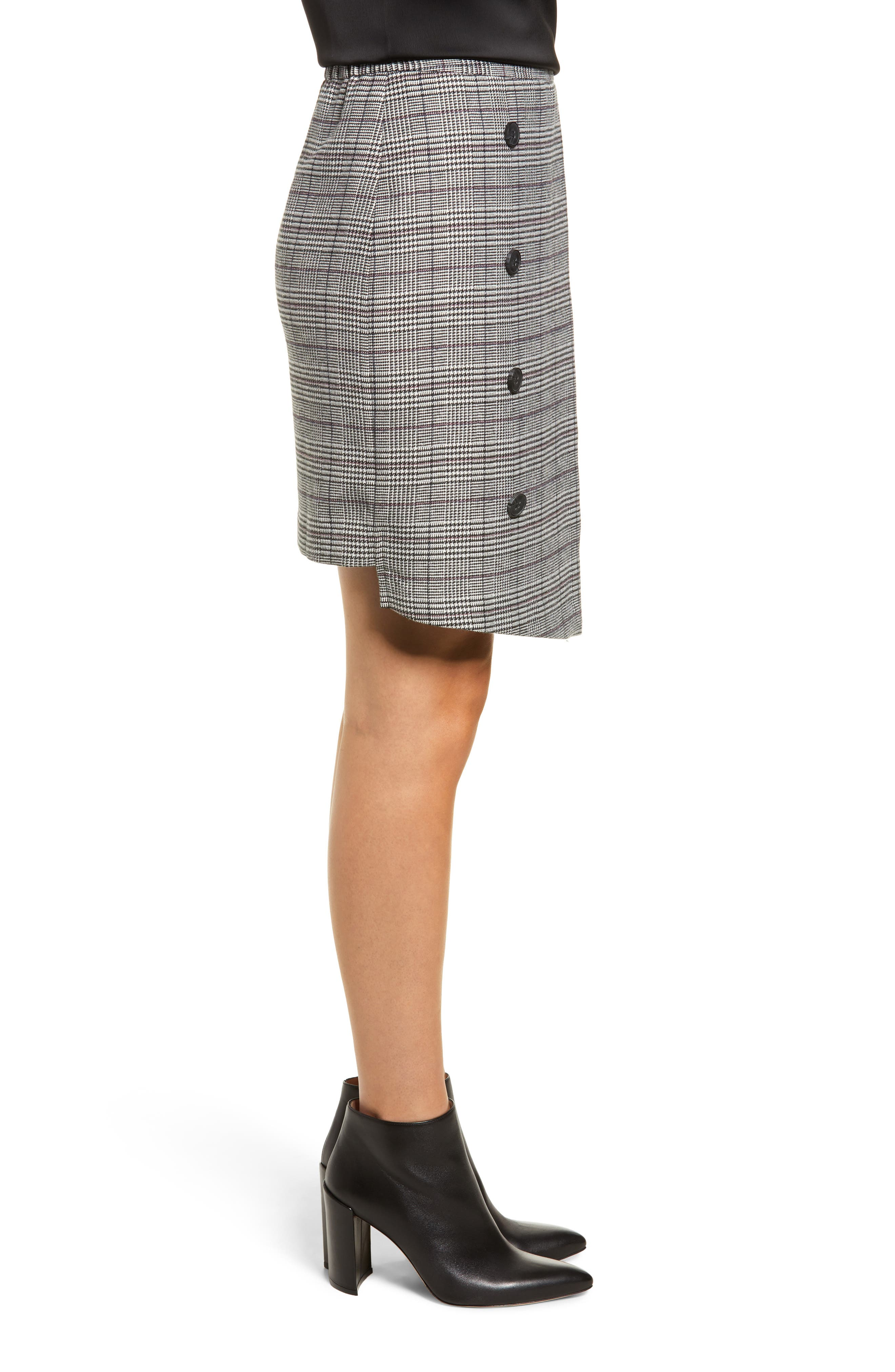 Chriselle Lim Bianca Houndstooth Button Front Skirt,                             Alternate thumbnail 4, color,                             GREY PLAID