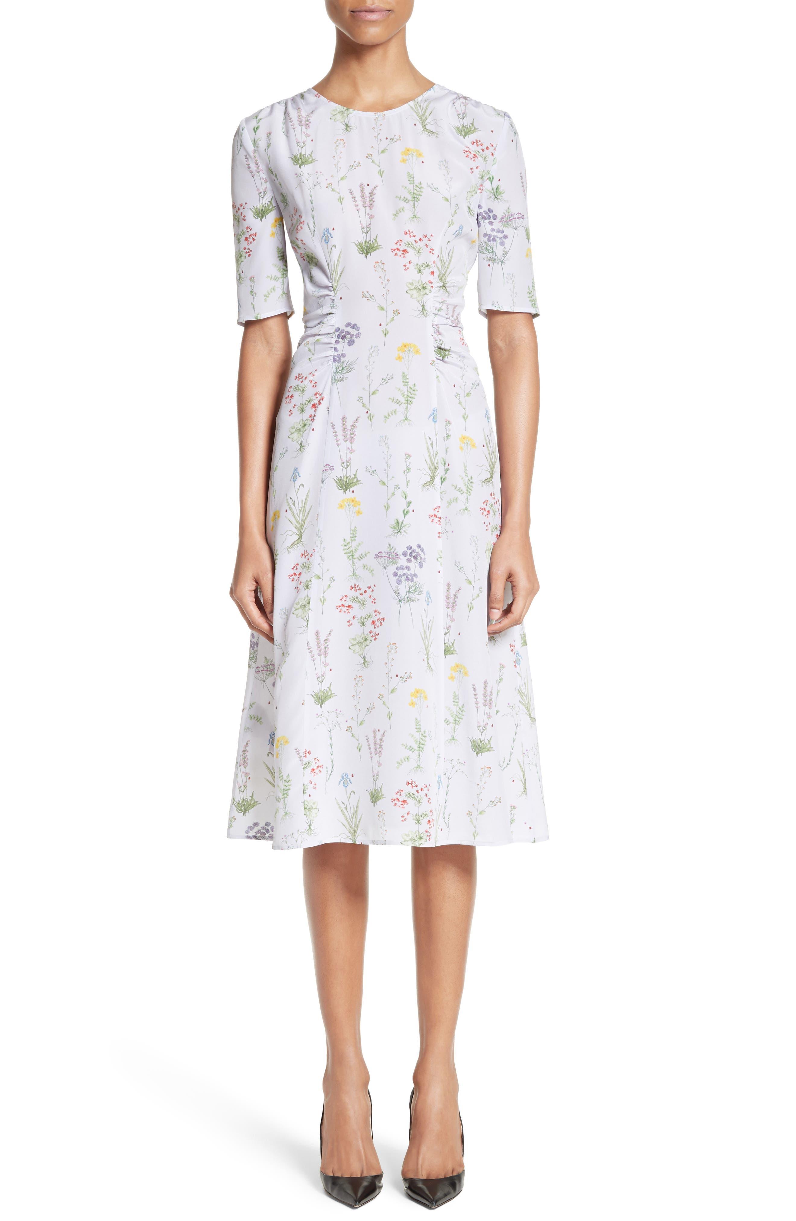 Sylvia Floral Silk A-Line Dress,                             Main thumbnail 1, color,                             582