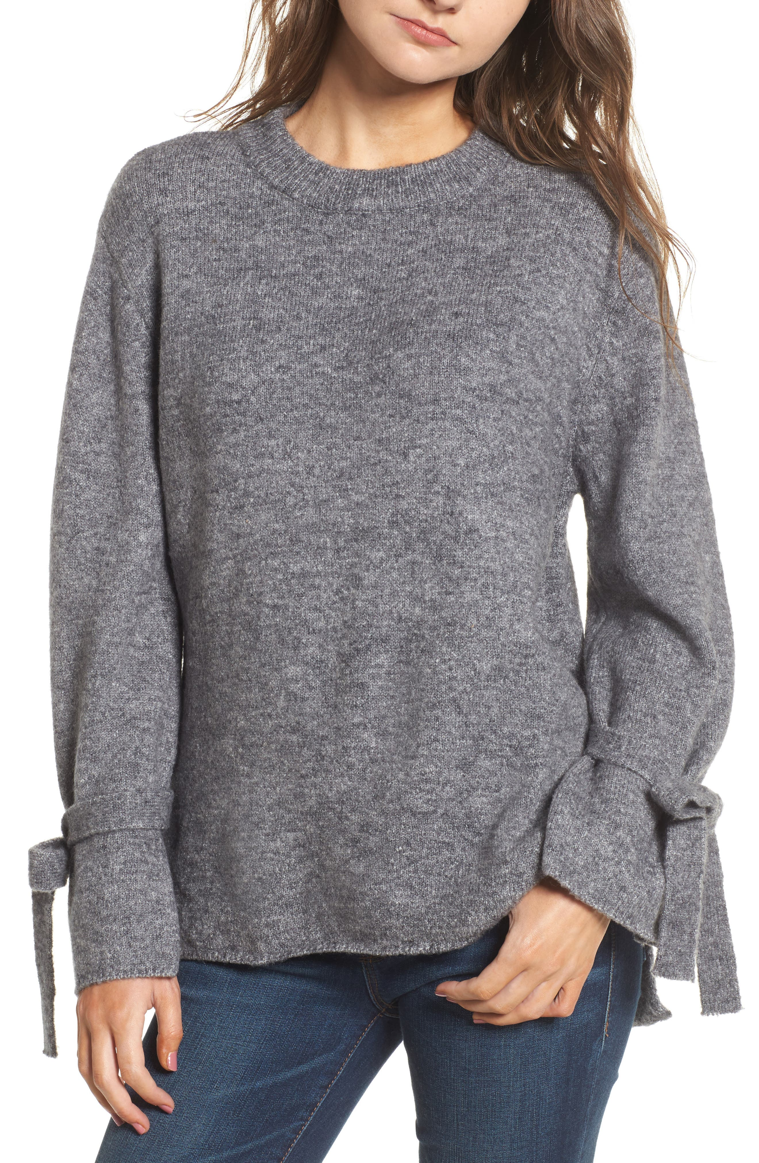 Flared Tie Sleeve Sweater,                             Main thumbnail 1, color,                             050