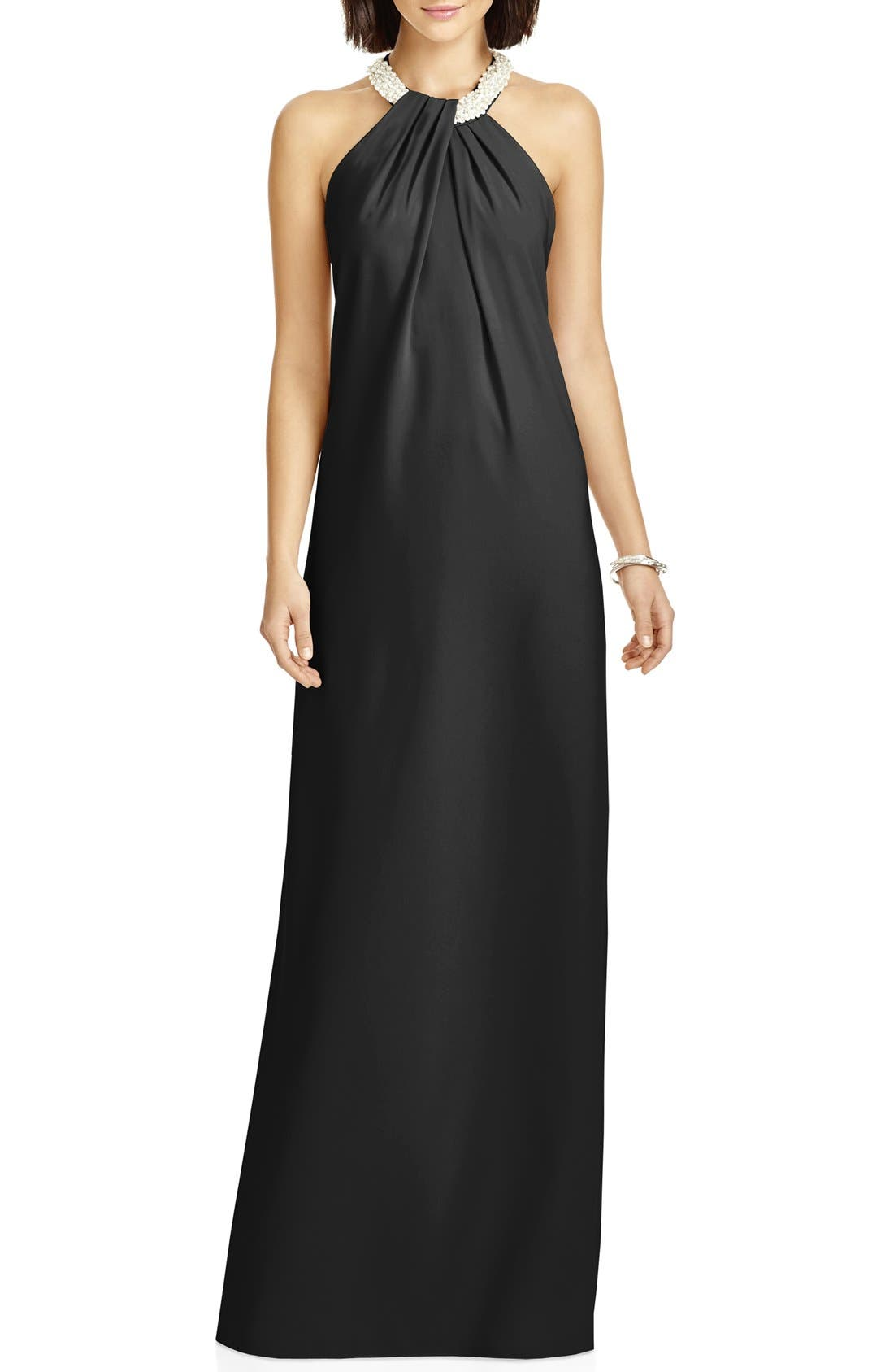 Beaded Halter Neck Crepe Gown,                             Main thumbnail 1, color,                             001