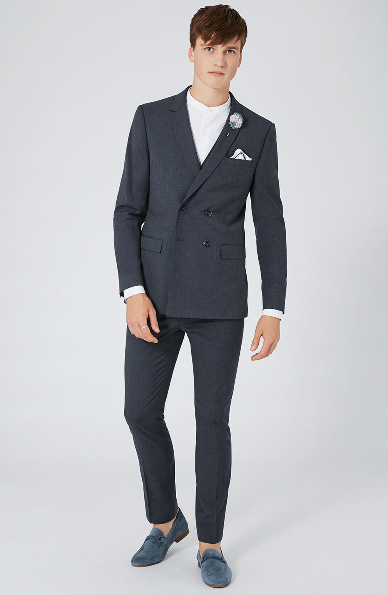 Skinny Fit Double Breasted Suit Jacket,                             Alternate thumbnail 6, color,                             410