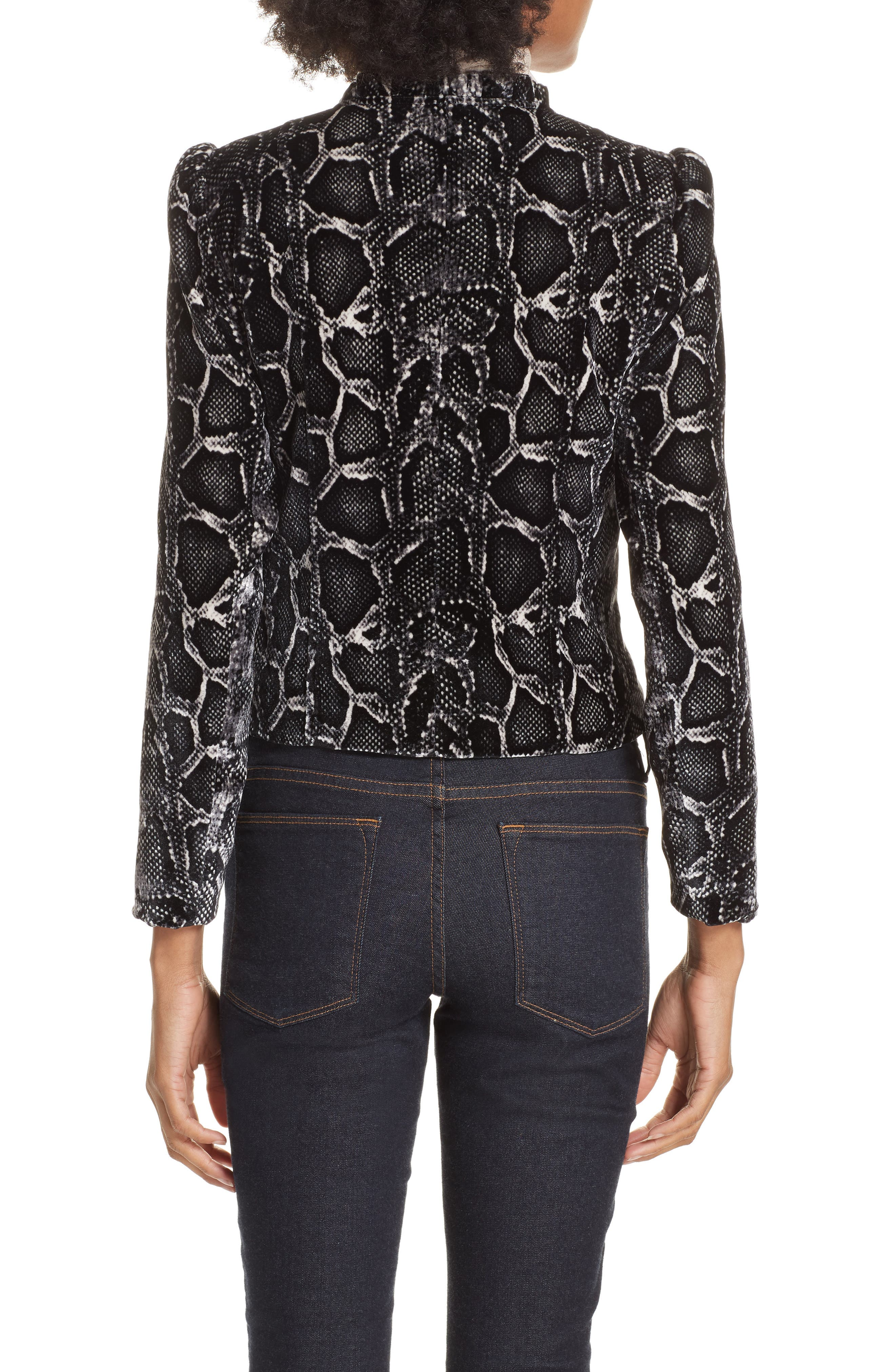 Snake Print Velvet Jacket,                             Alternate thumbnail 2, color,                             WASHED BLACK COMBO