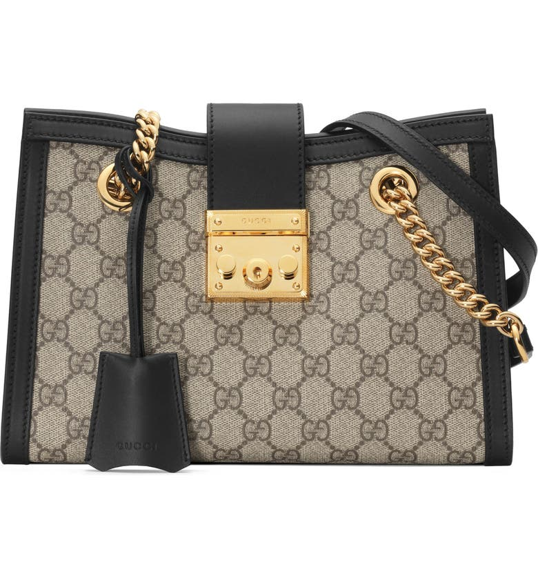 5641c28e62a2 Gucci Small Padlock Gg Supreme Shoulder Bag In Beige Ebony  Nero ...