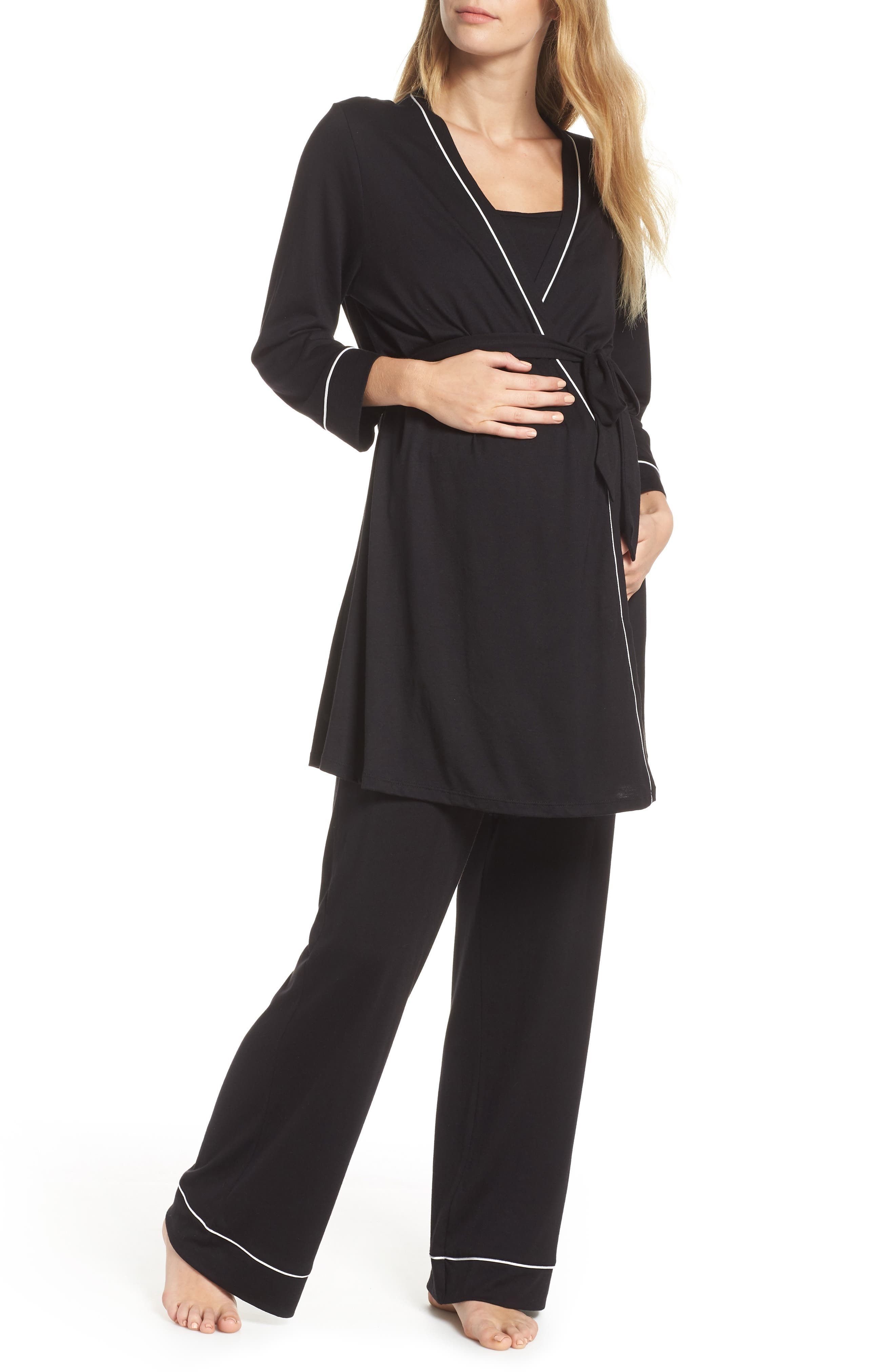 Let Me Sleep Maternity/Nursing Pajamas & Robe Set,                             Main thumbnail 1, color,                             BLACK/ IVORY