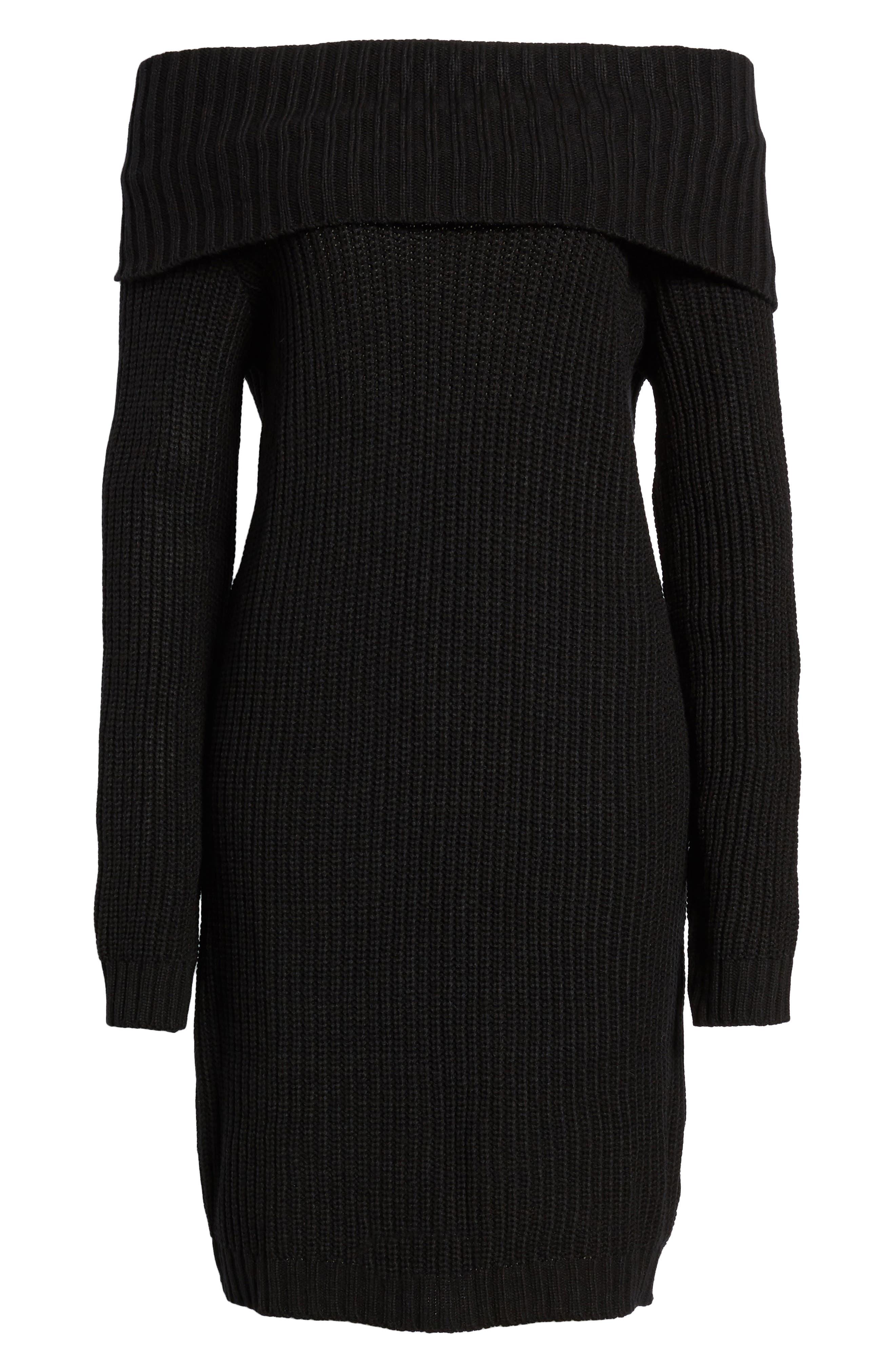 Foldover Off the Shoulder Sweater Dress,                             Alternate thumbnail 6, color,                             001