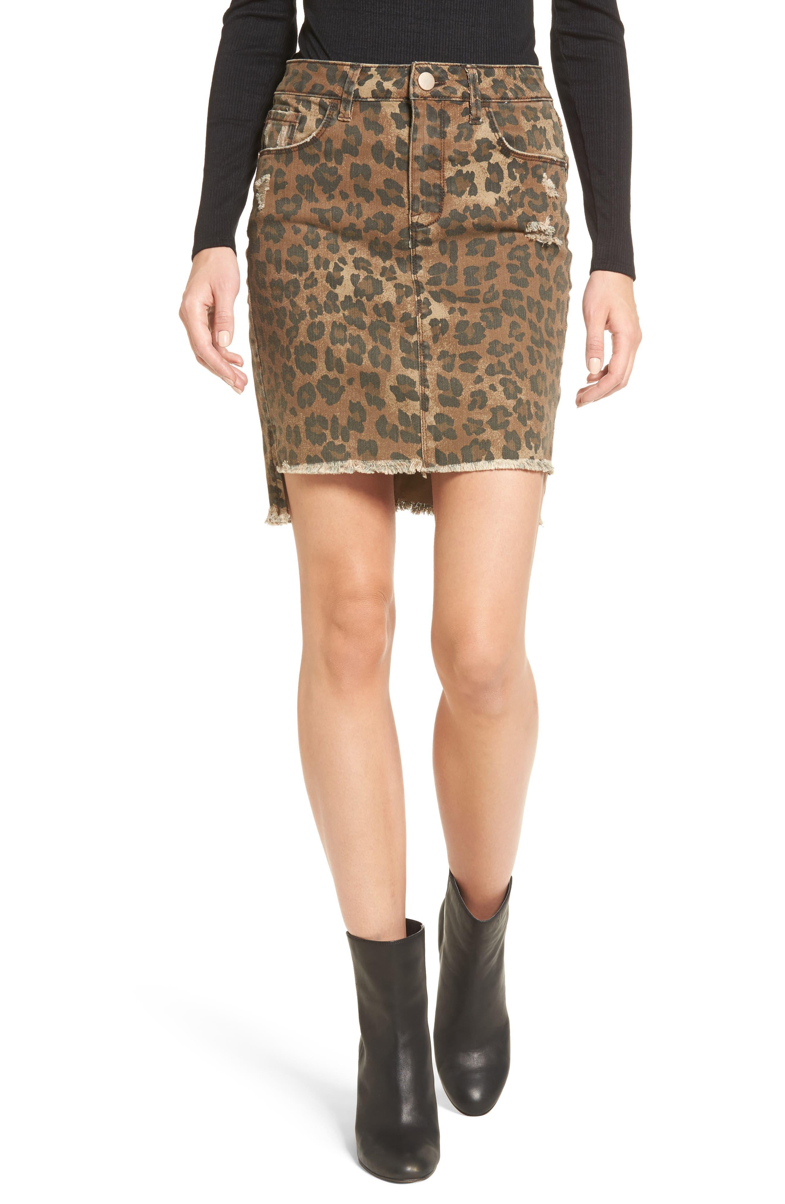 Bella Distressed Denim Skirt,                         Main,                         color, 001