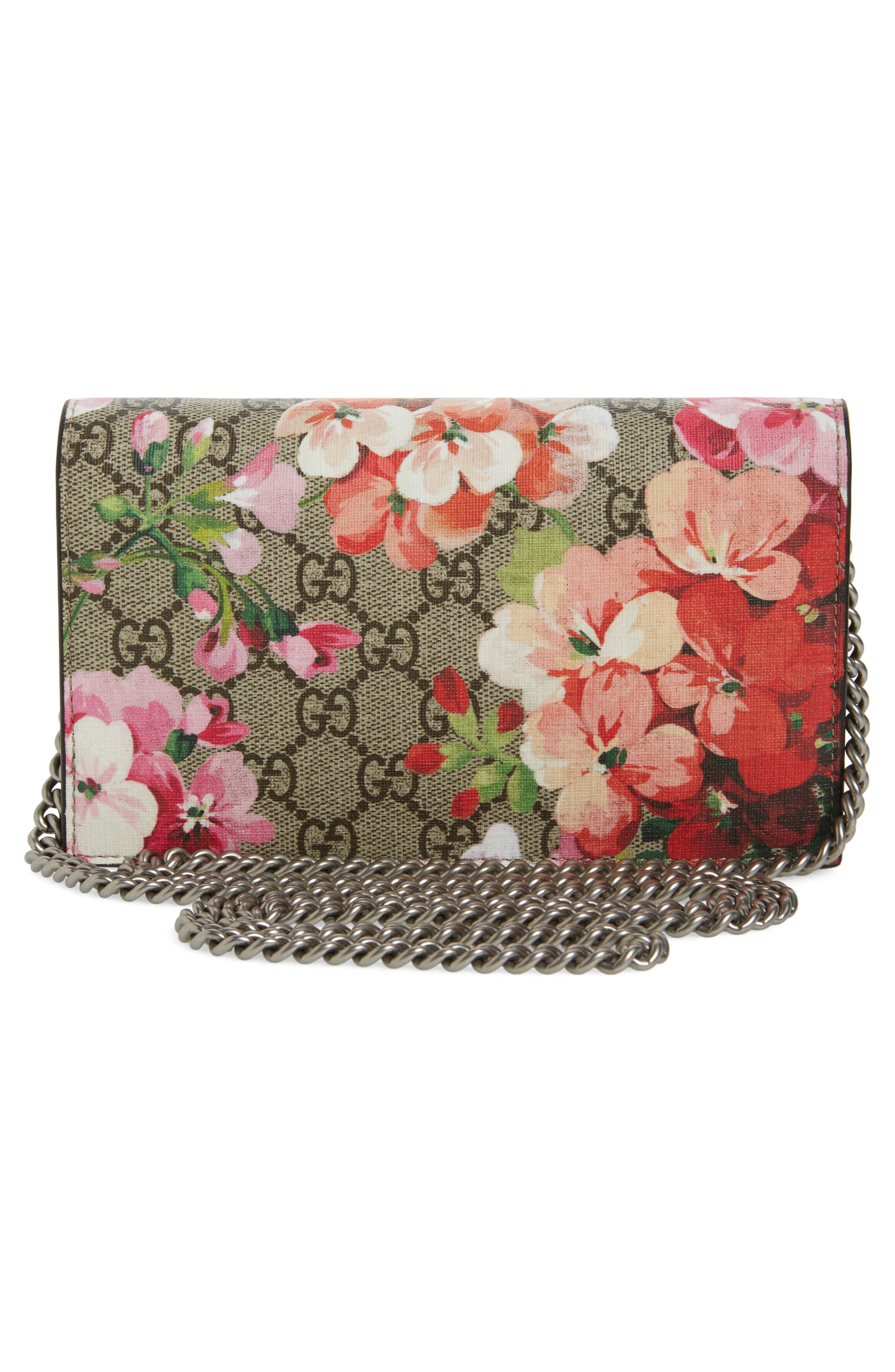 GG Blooms Supreme Canvas Wallet on a Chain,                             Alternate thumbnail 3, color,                             291