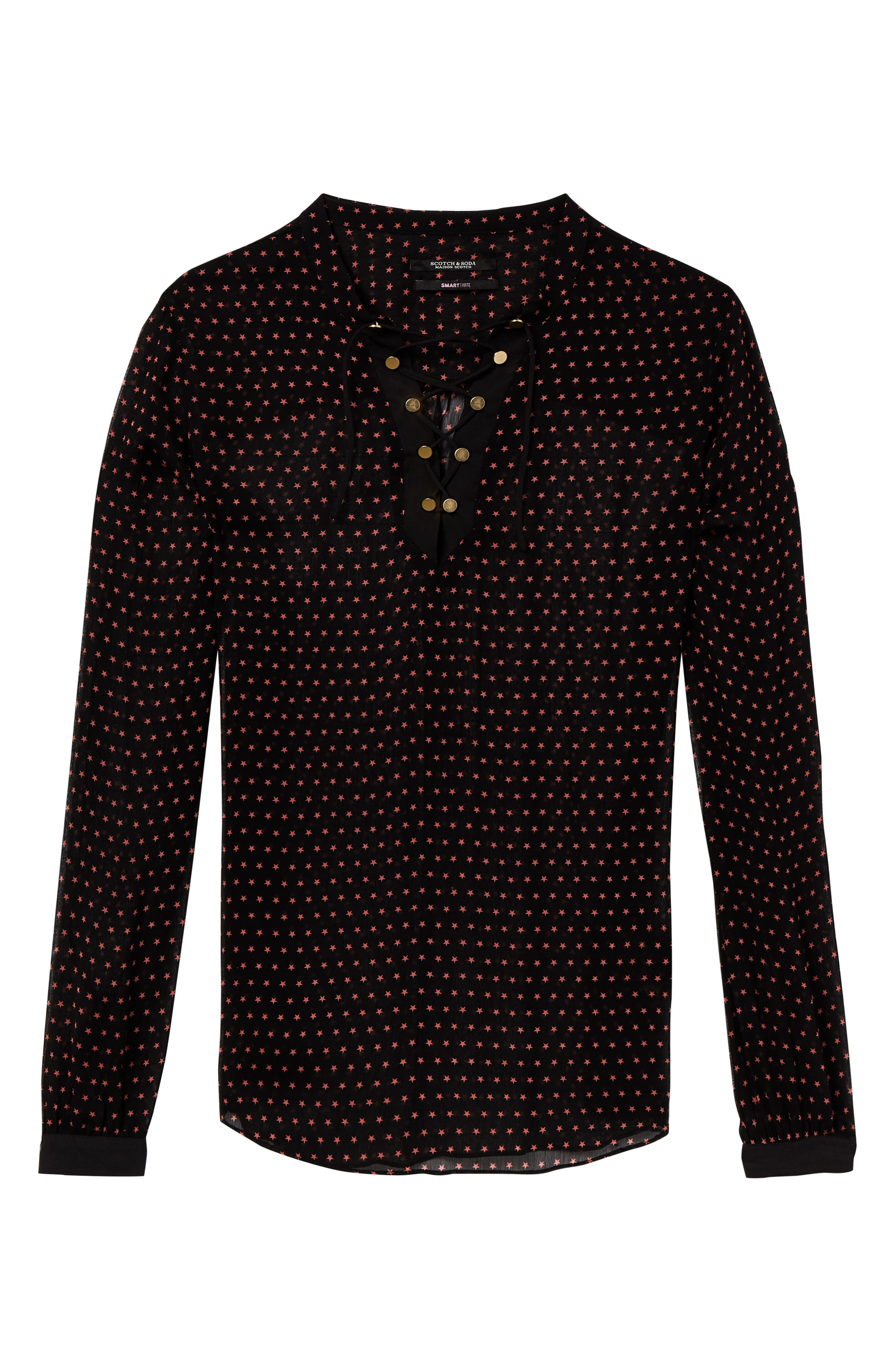 Lace-Up Star Print Blouse,                             Alternate thumbnail 4, color,                             BLACK W/ SMALL STAR