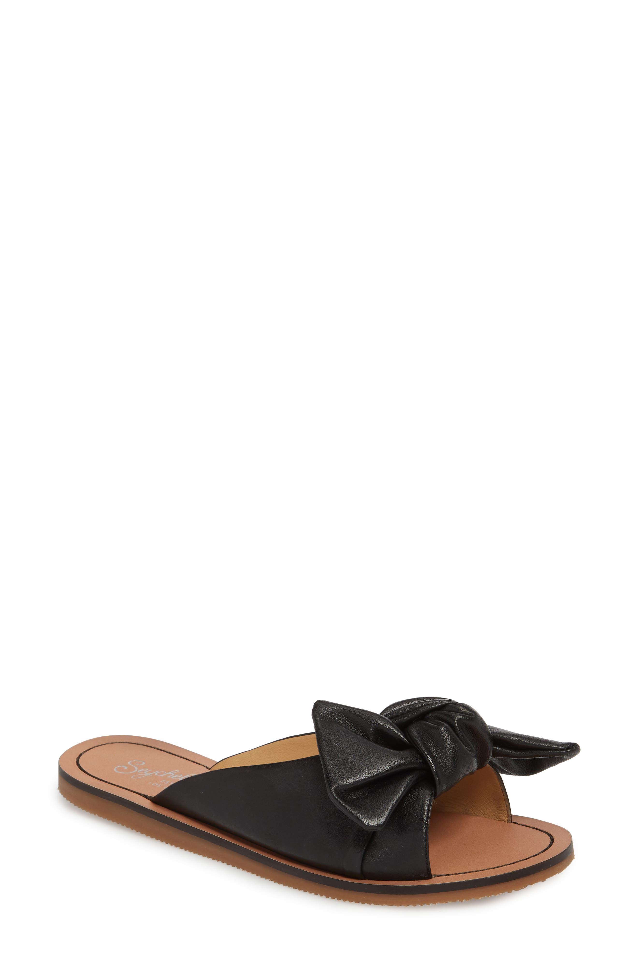 Childlike Enthusiam Slide Sandal,                         Main,                         color, BLACK LEATHER