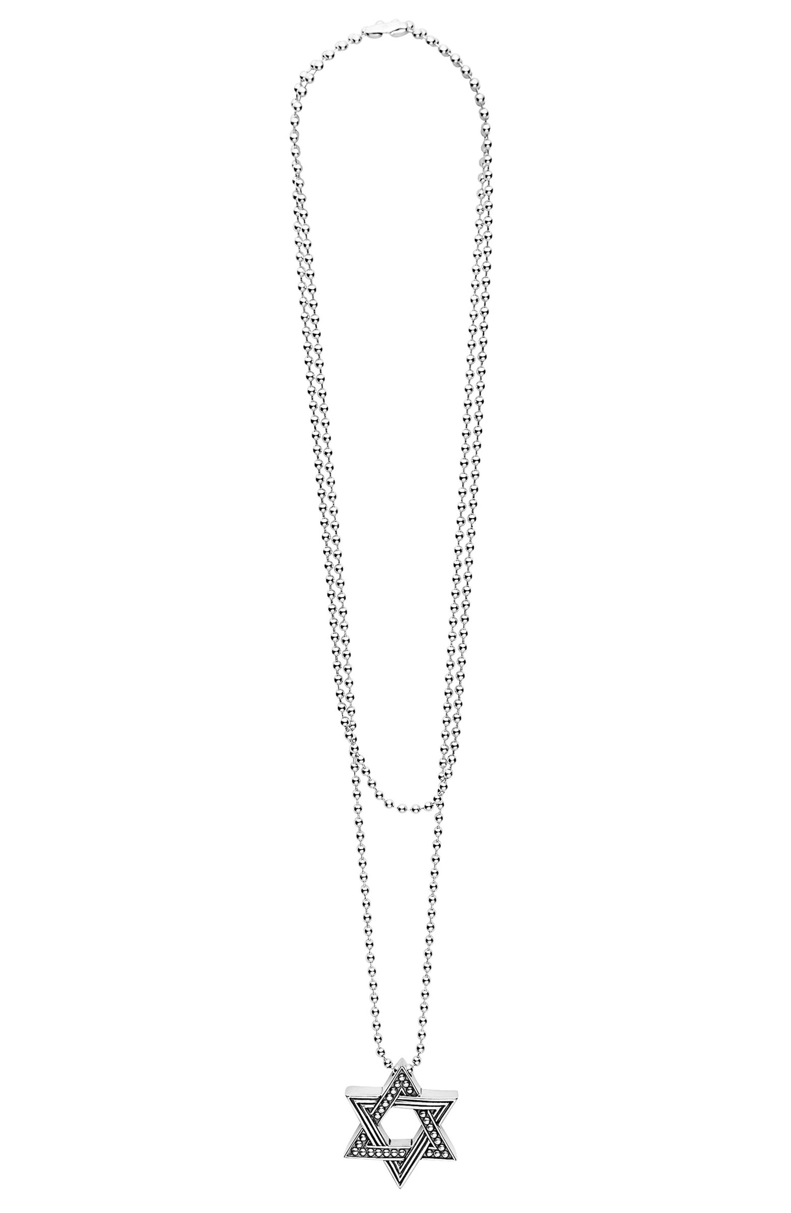 Signature Caviar Star of David Pendant Necklace,                             Alternate thumbnail 3, color,                             SILVER