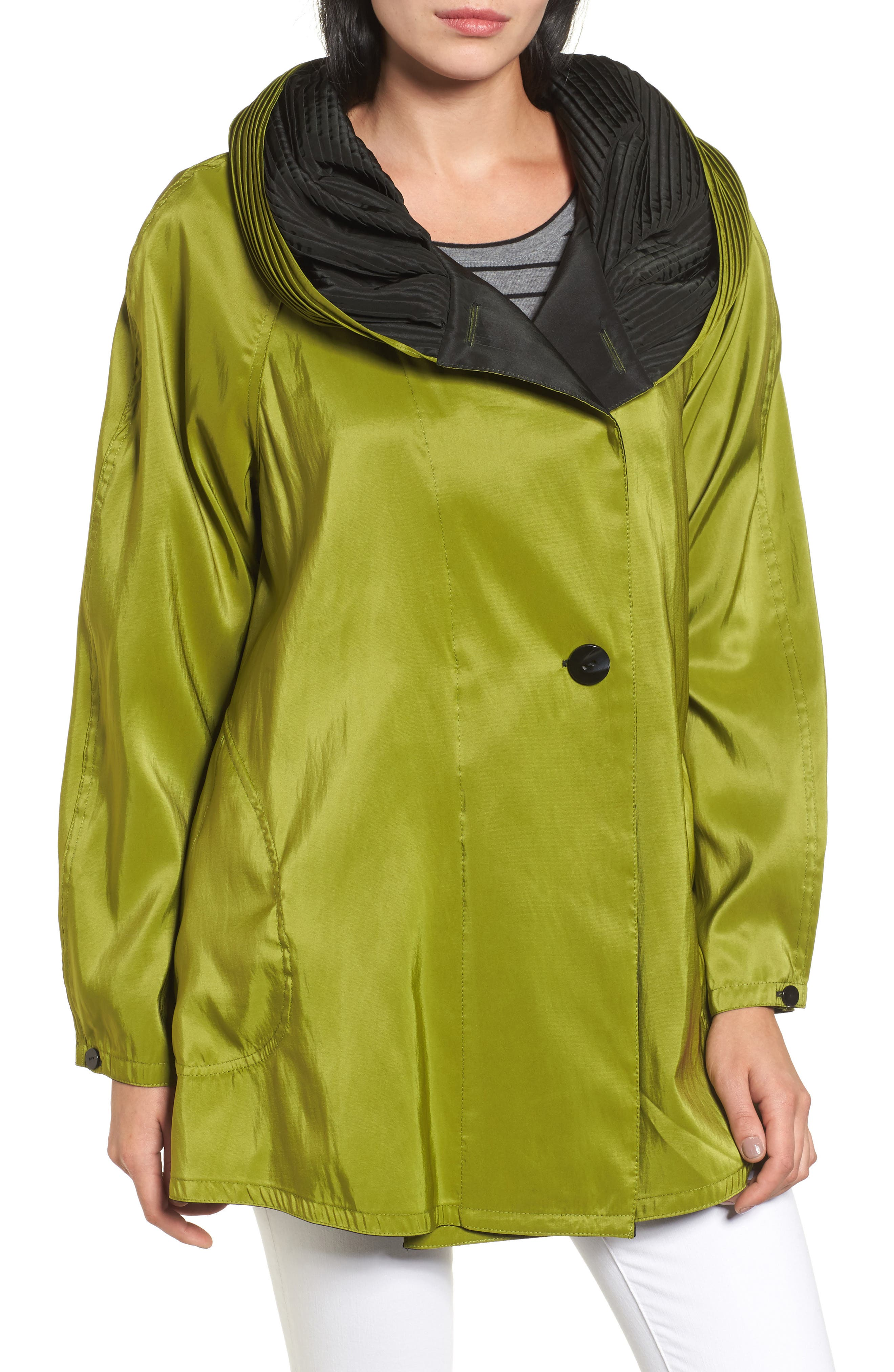 'Mini Donatella' Reversible Pleat Hood Packable Travel Coat,                             Main thumbnail 1, color,                             316