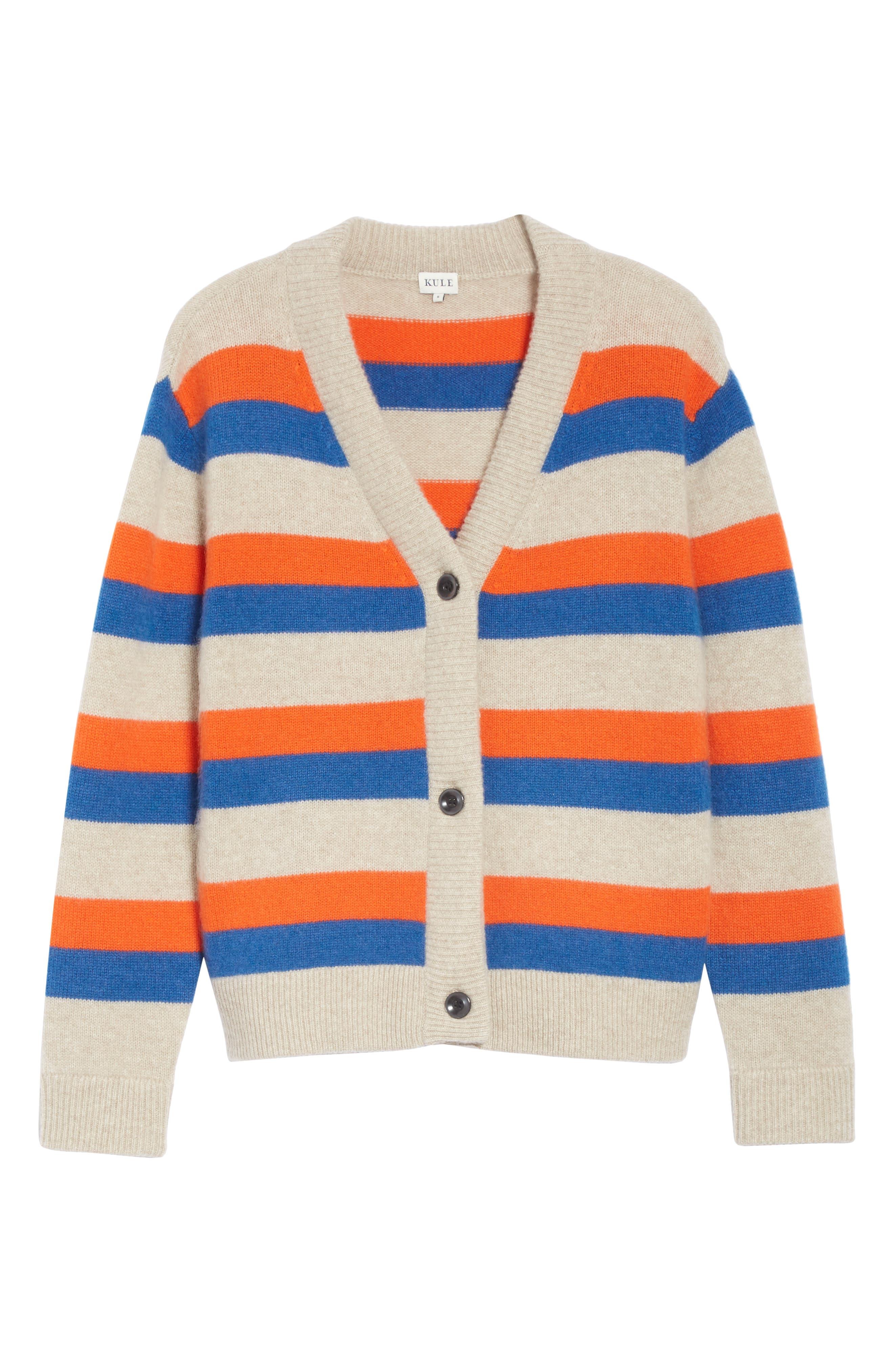 The Remus Stripe Cashmere Cardigan,                             Alternate thumbnail 6, color,                             SAND