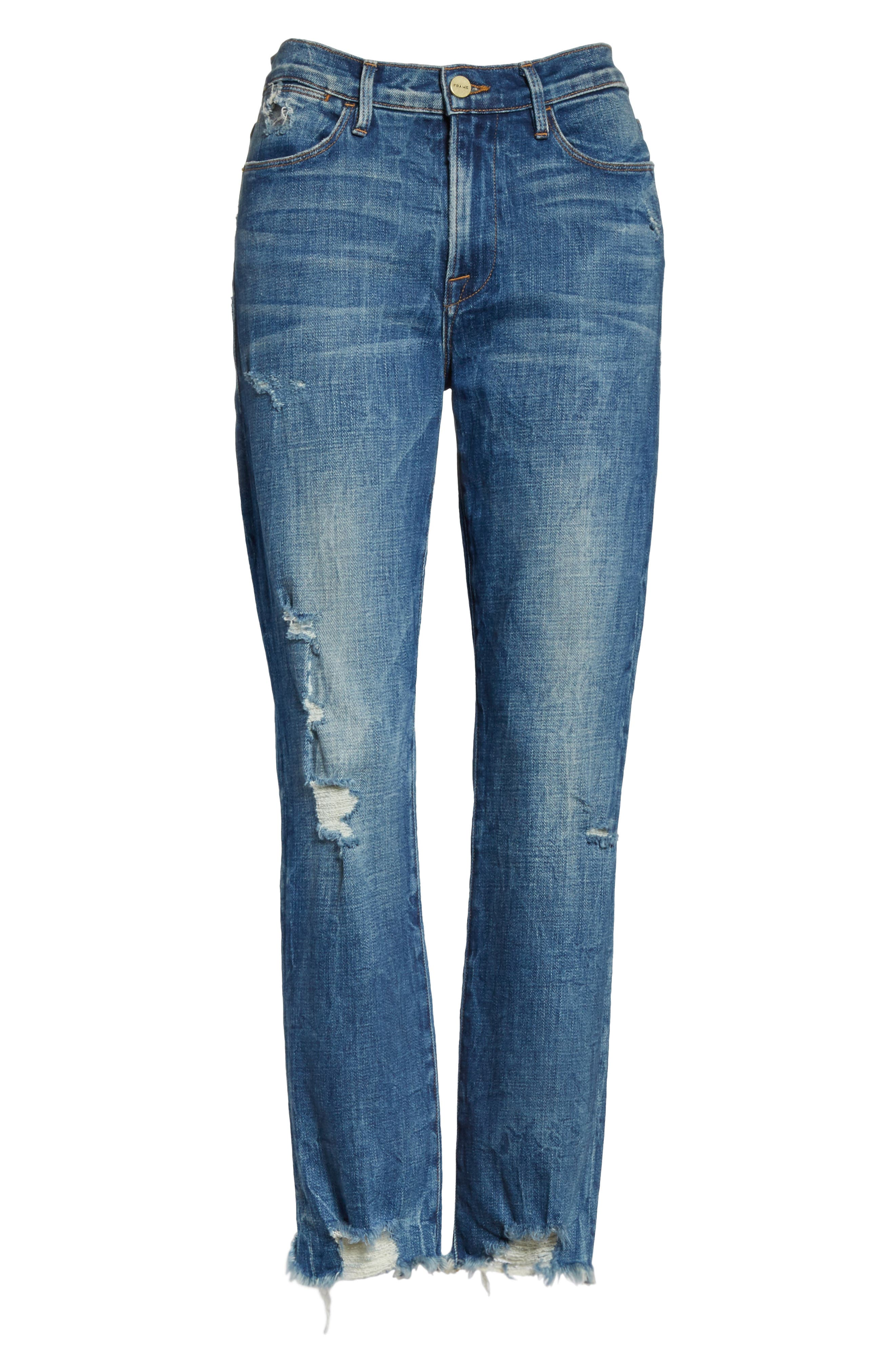 Le High Raw Edge Straight Jeans,                             Alternate thumbnail 6, color,                             401