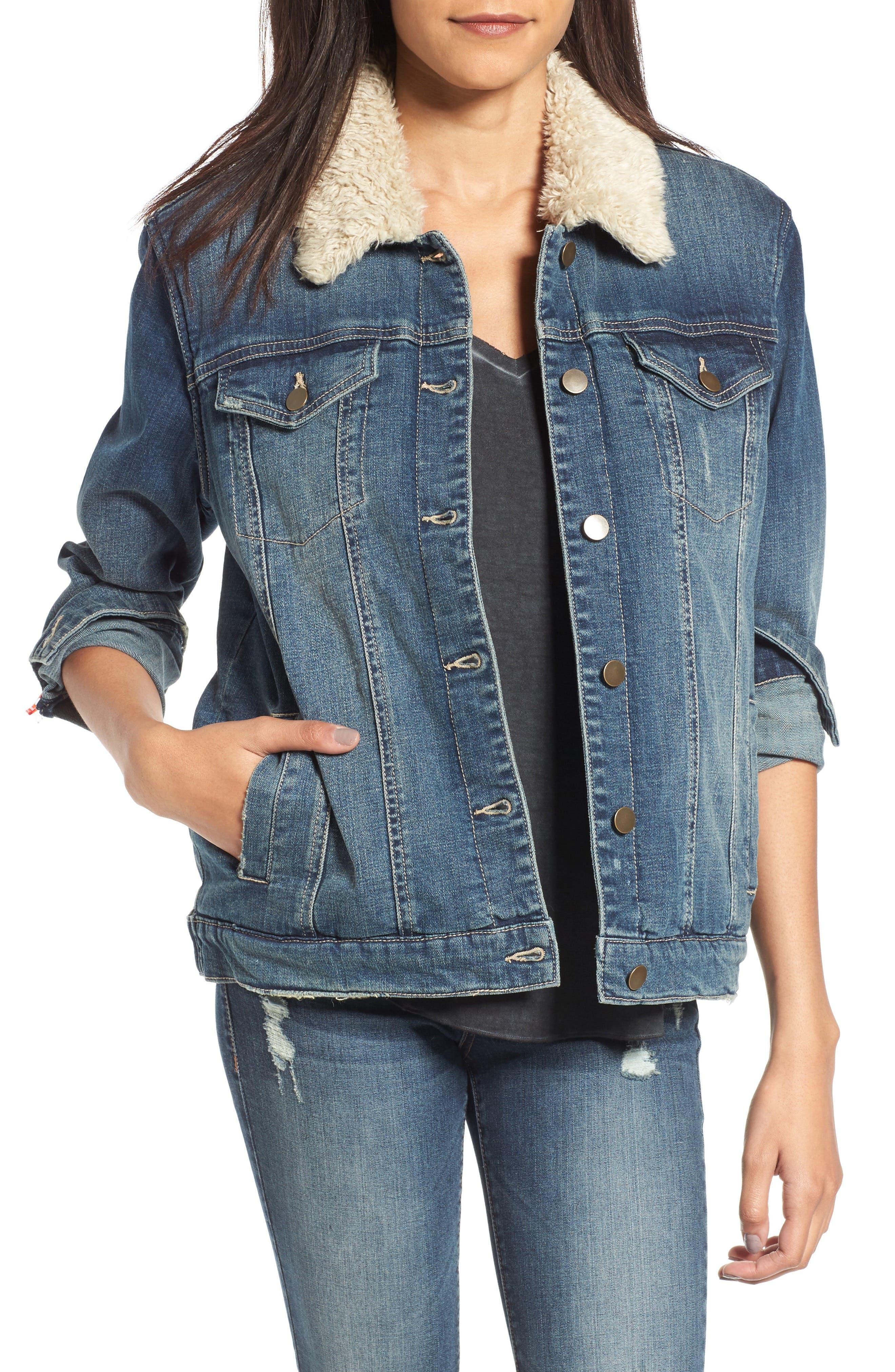 Faux Shearling Collar Denim Jacket, Main, color, 420