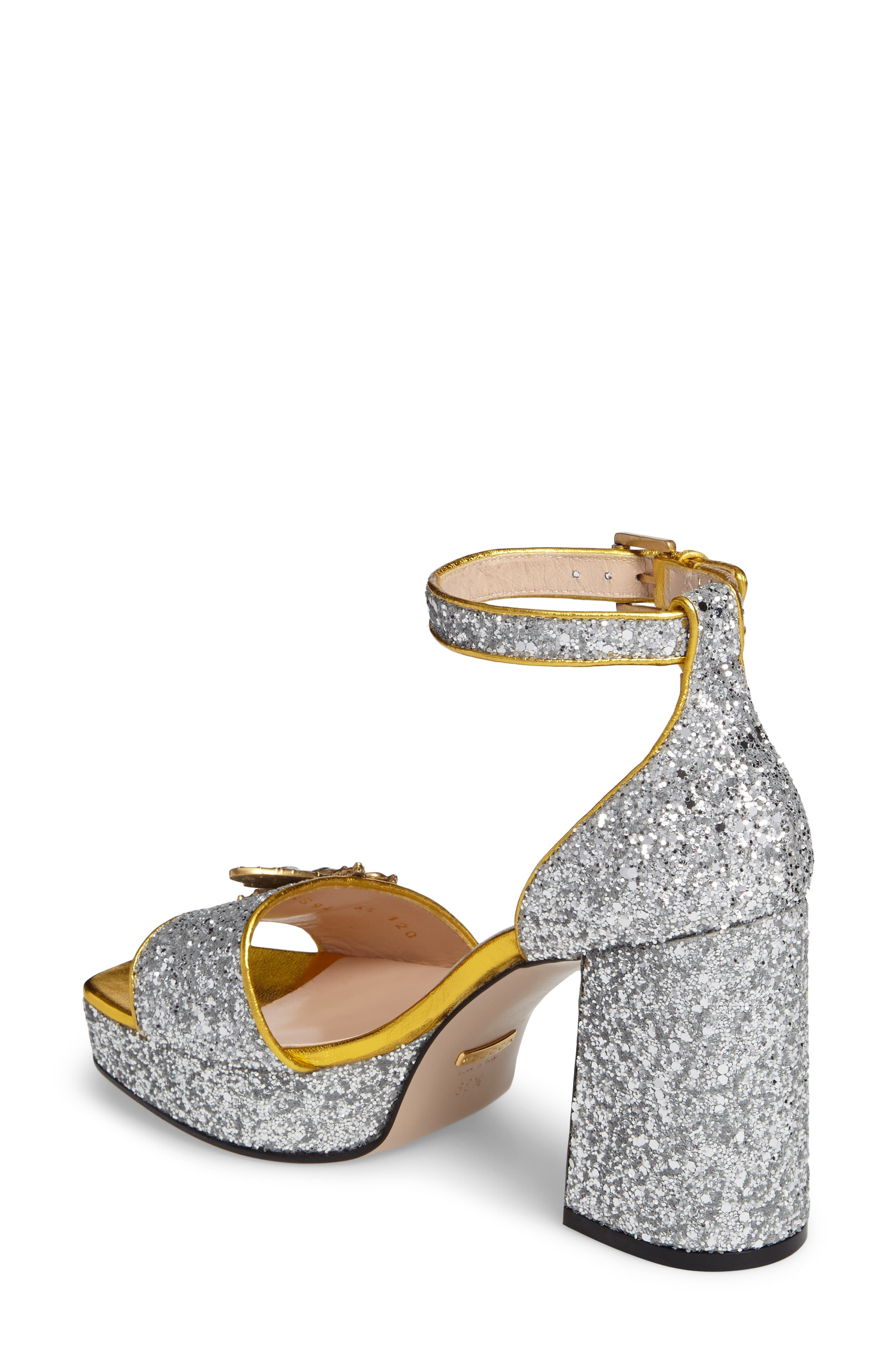 GUCCI,                             Soko Glitter Bee Sandal,                             Alternate thumbnail 2, color,                             040