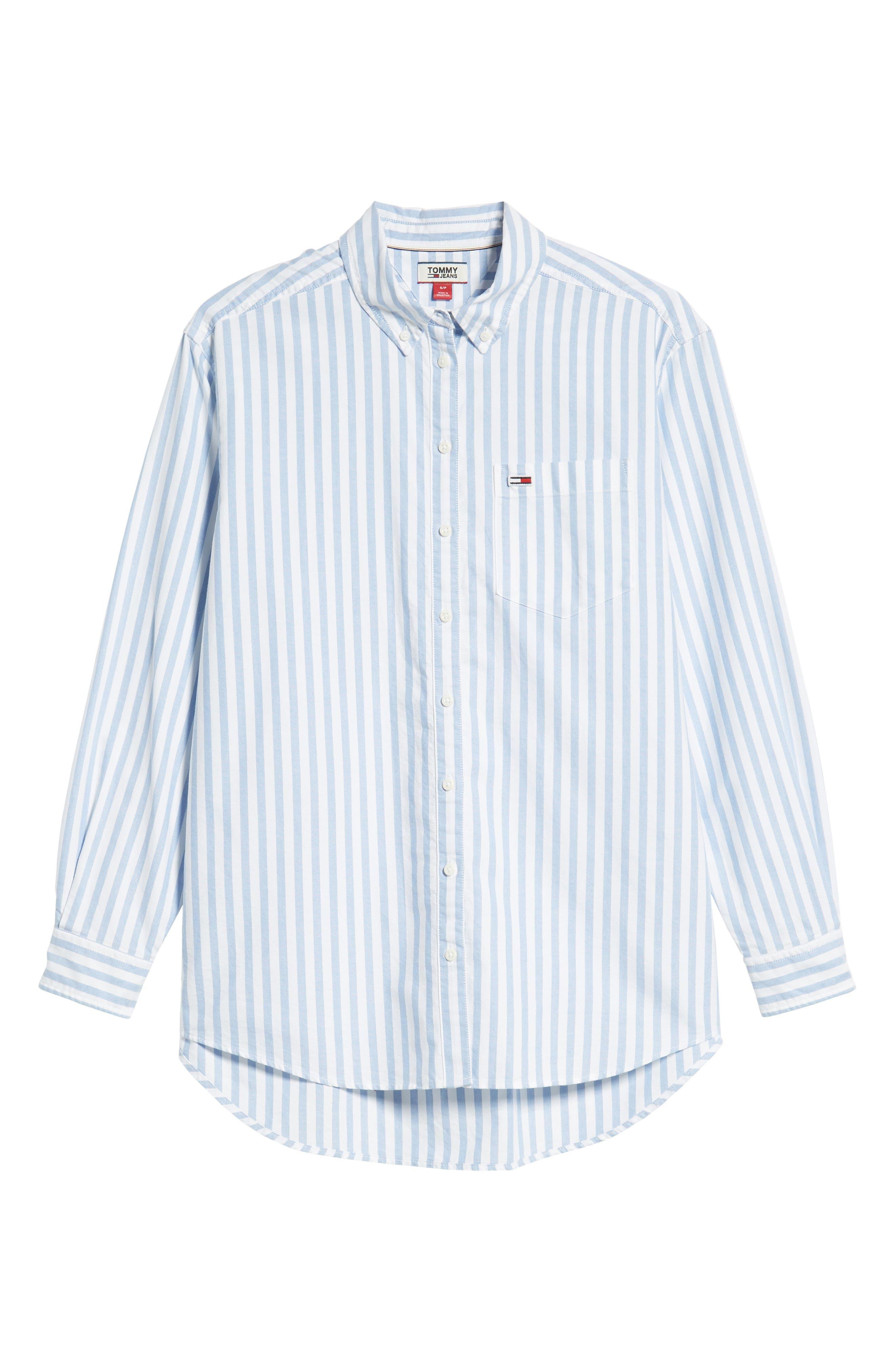 TJW Classics Stripe Shirt,                             Alternate thumbnail 6, color,                             BRIGHT WHITE / LIGHT BLUE