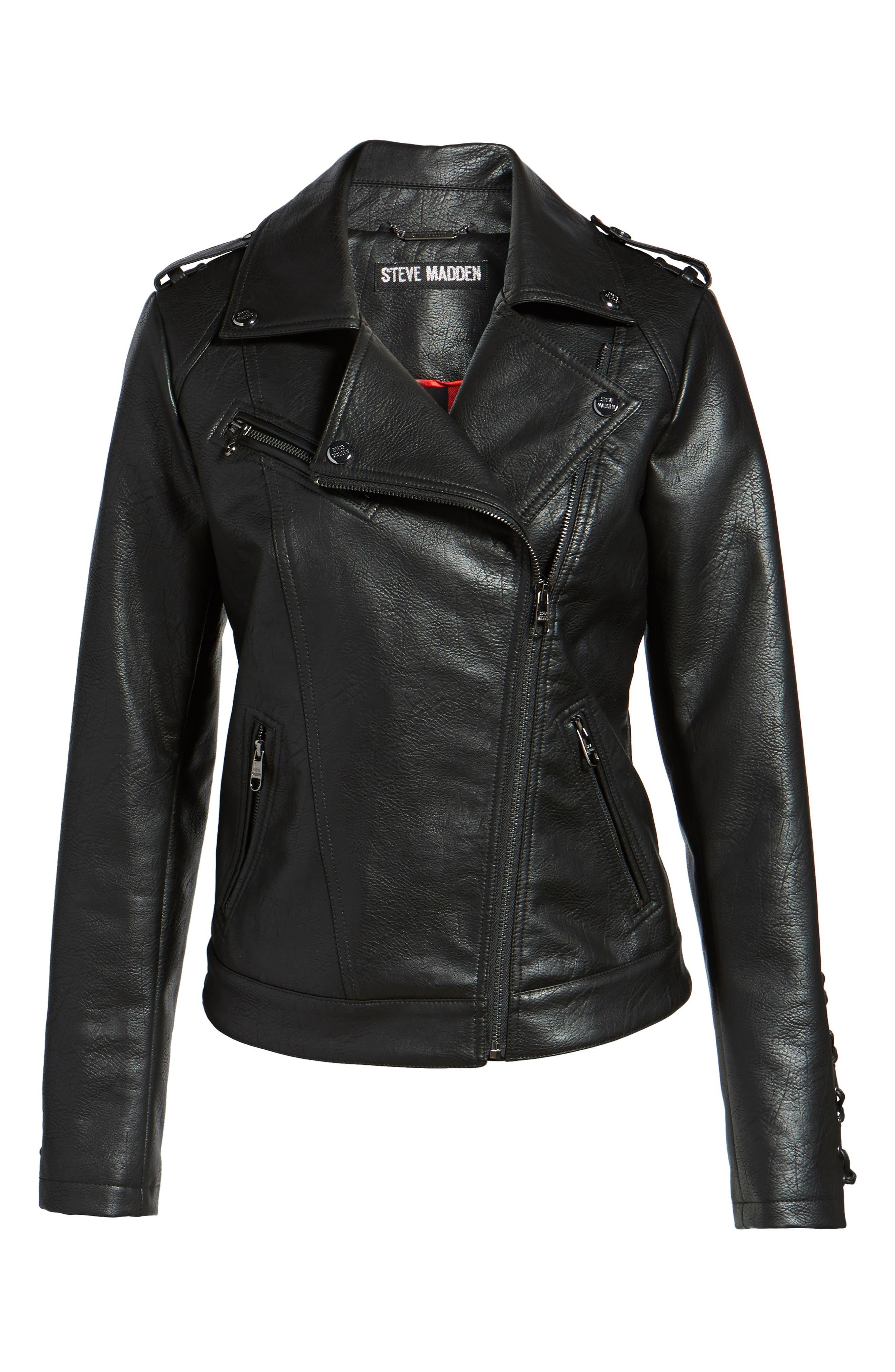 Lace Detail Faux Leather Biker Jacket,                             Alternate thumbnail 5, color,                             001