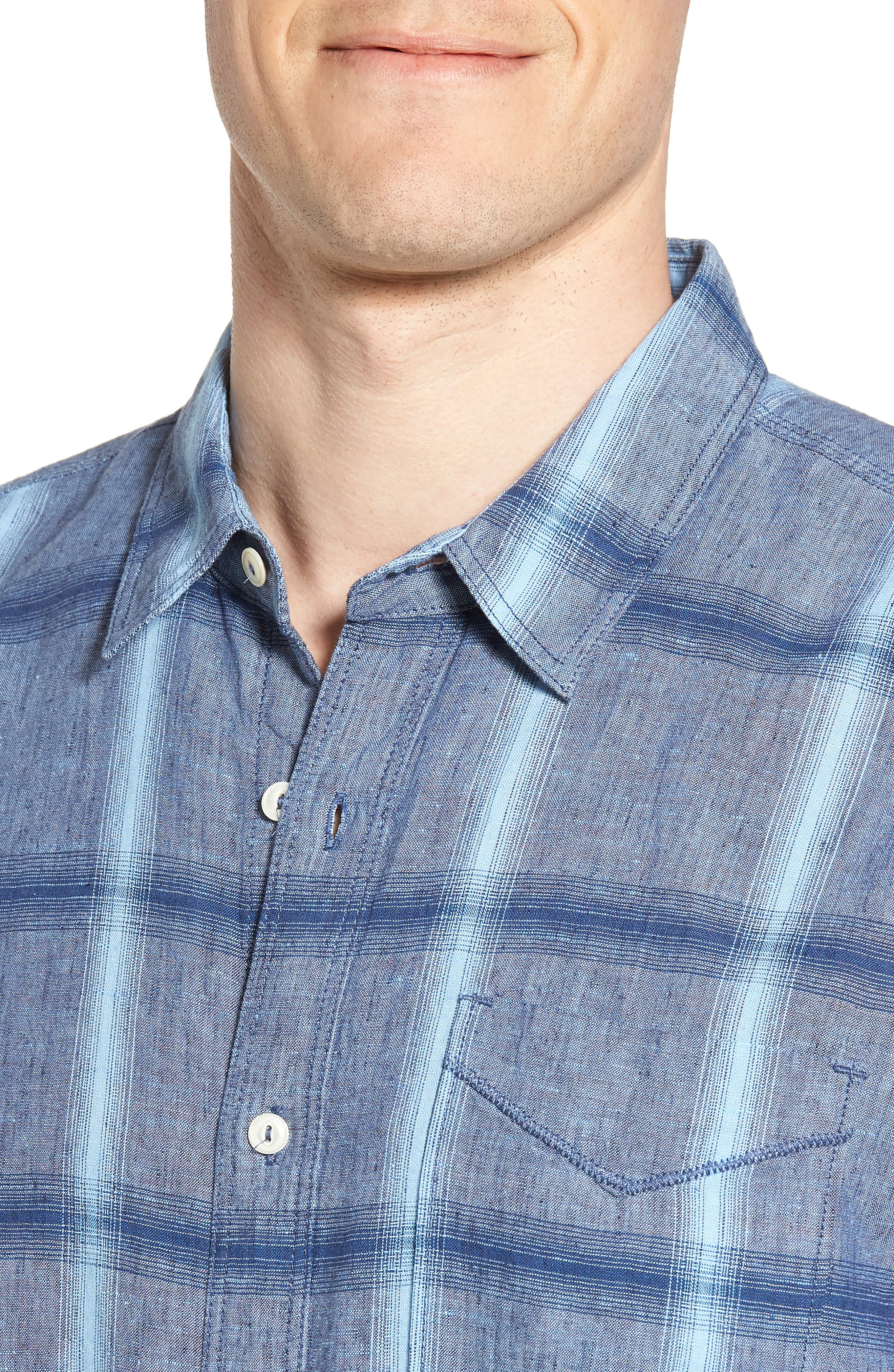 Rincon Plaid Linen Blend Chambray Sport Shirt,                             Alternate thumbnail 4, color,                             400