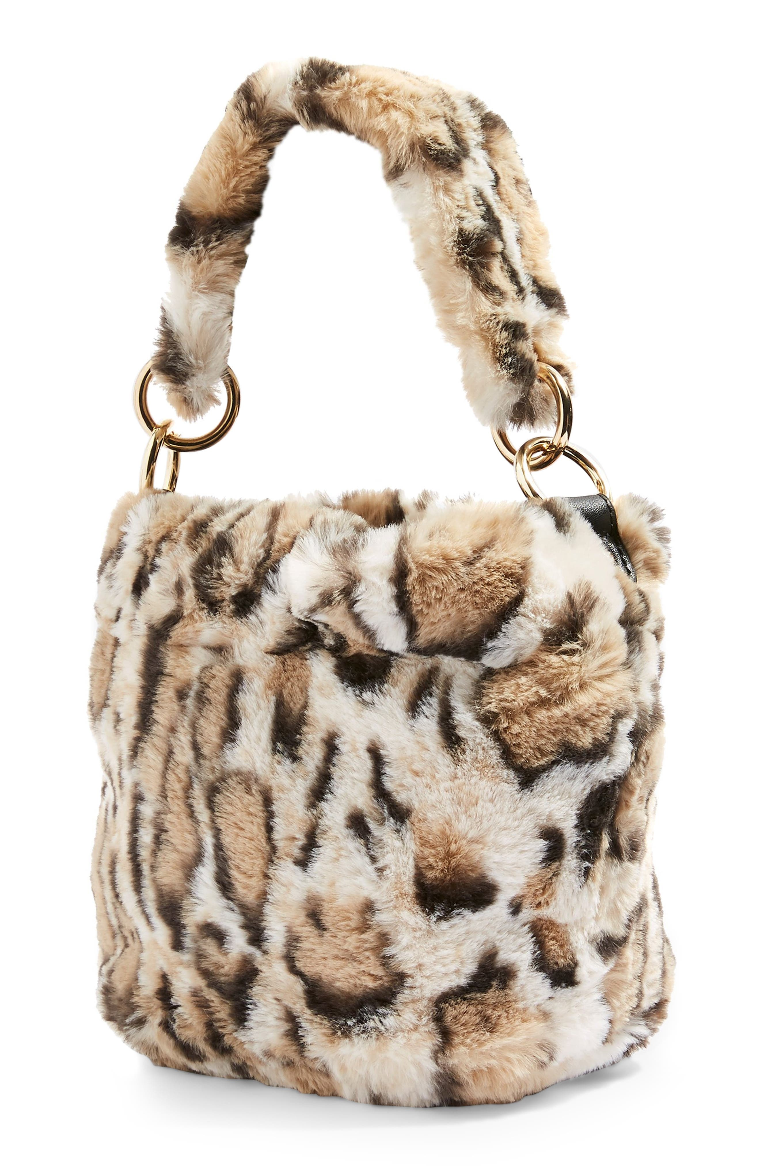 Teddy Faux Fur Bucket Bag,                             Alternate thumbnail 3, color,                             LEOPARD