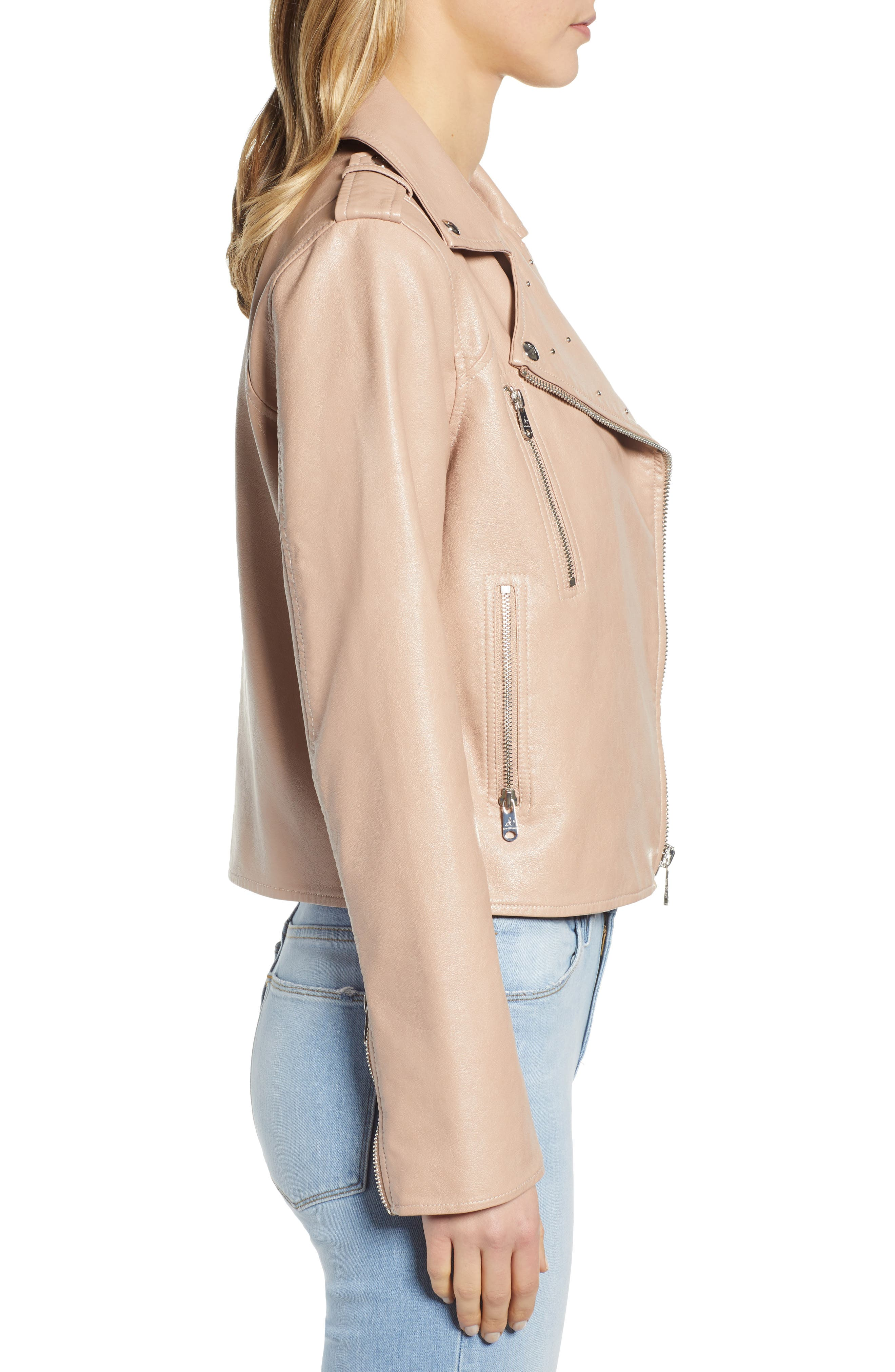 SAM EDELMAN,                             Washed Faux Leather Moto Jacket,                             Alternate thumbnail 3, color,                             NUDE
