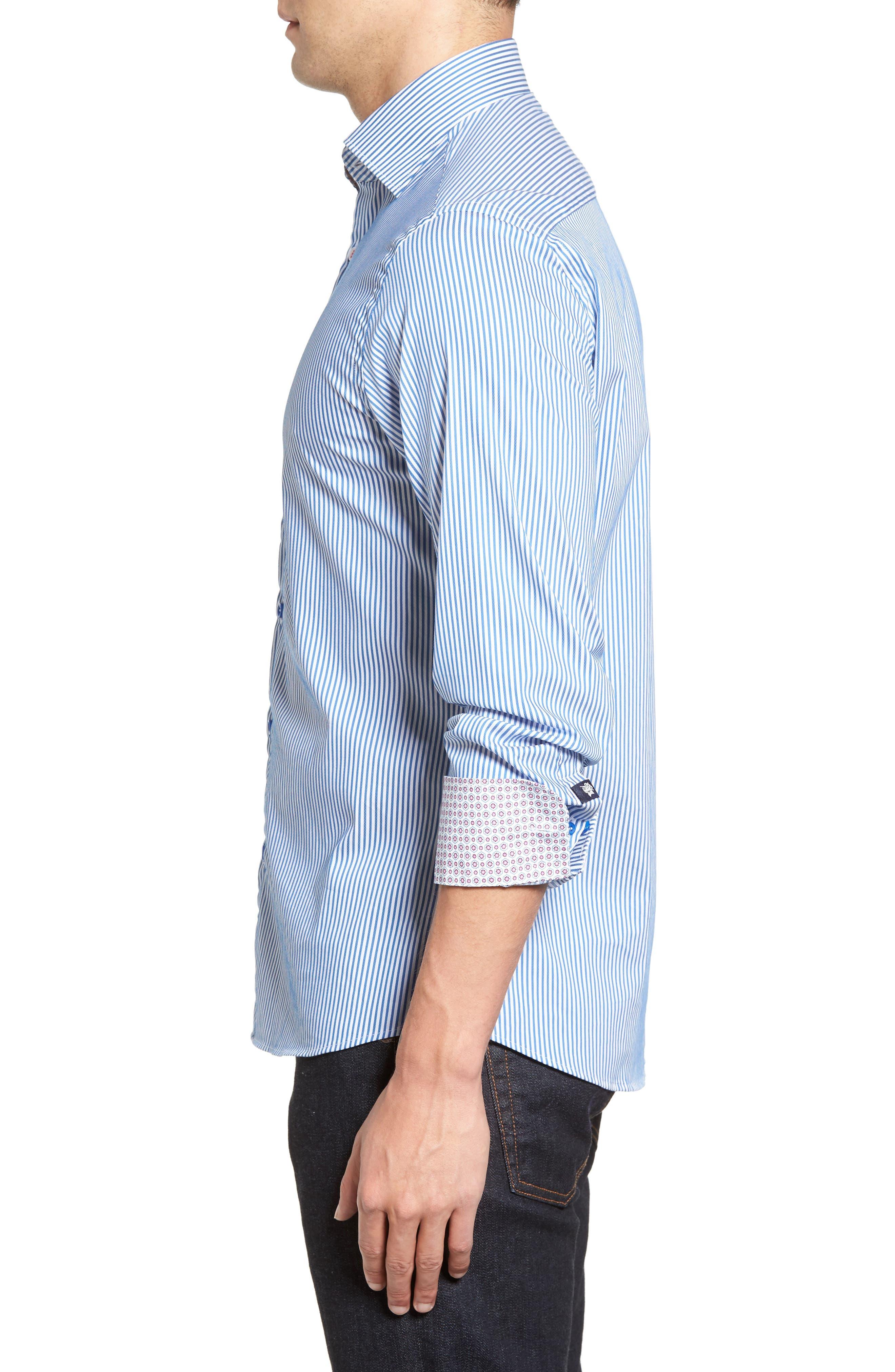 Technical Stripe Sport Shirt,                             Alternate thumbnail 3, color,                             402