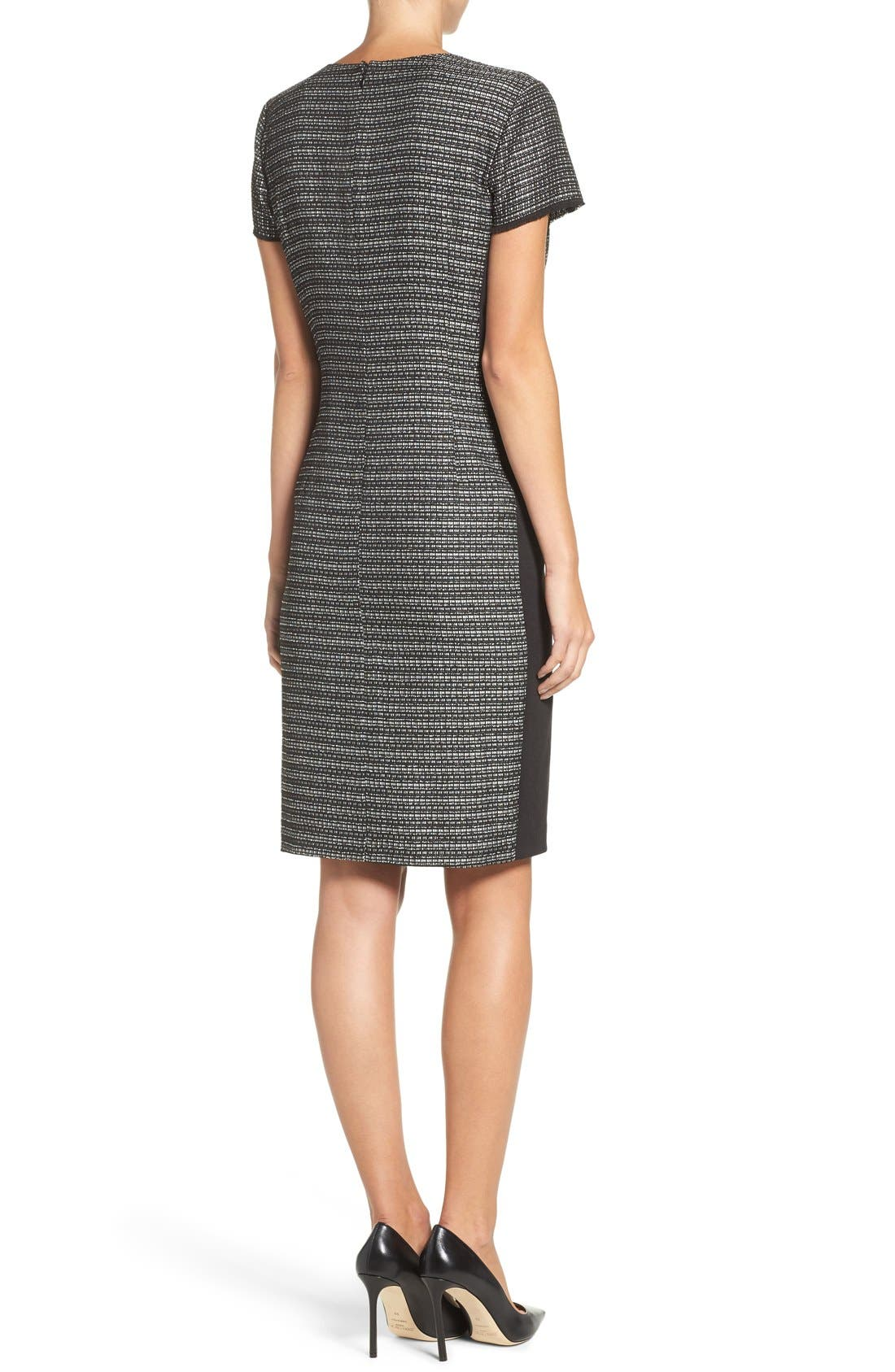 Embellished Tweed Shift Dress,                             Alternate thumbnail 5, color,                             006
