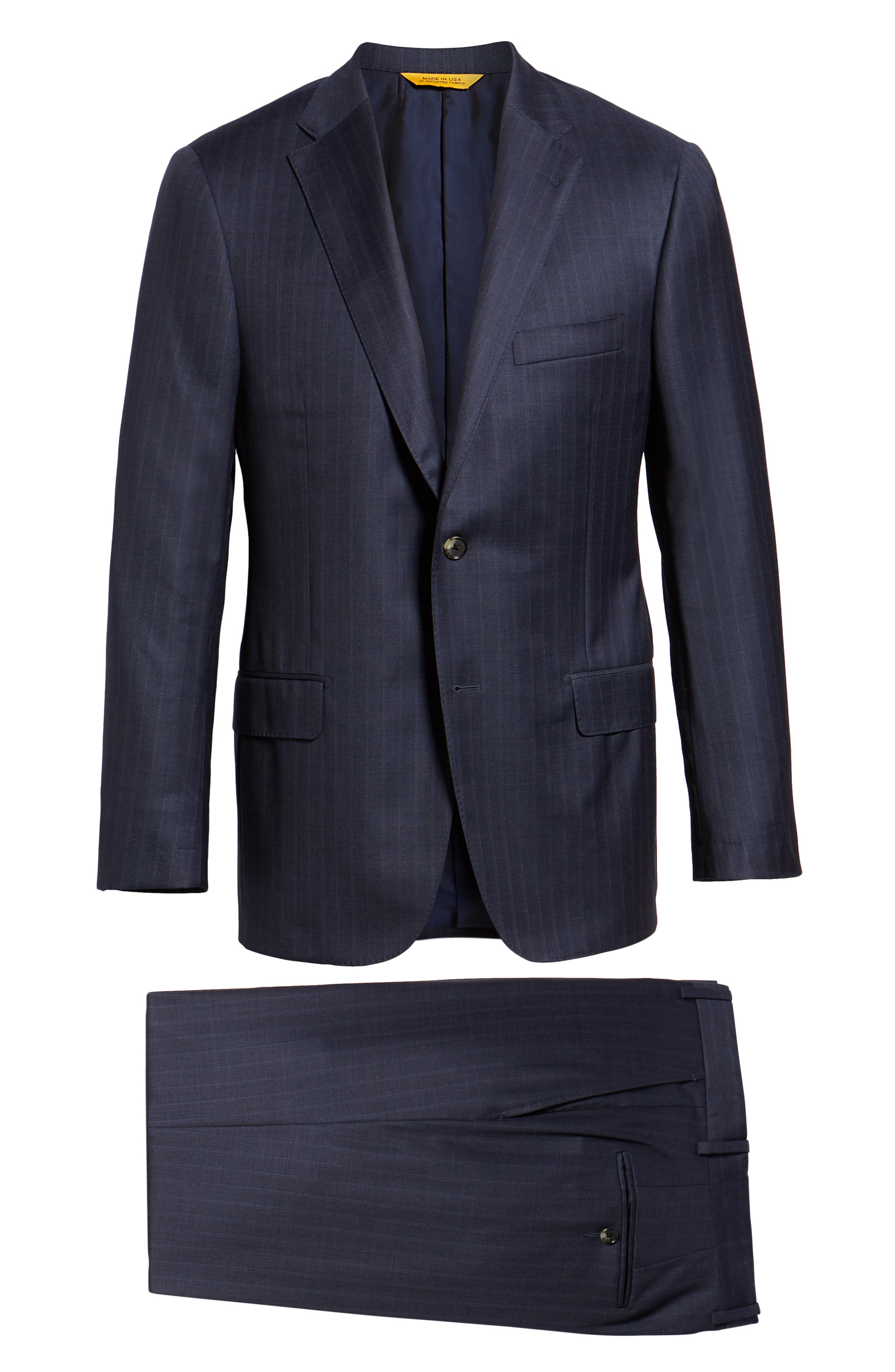 Classic Fit Stripe Wool Suit,                             Alternate thumbnail 7, color,                             DARK BLUE