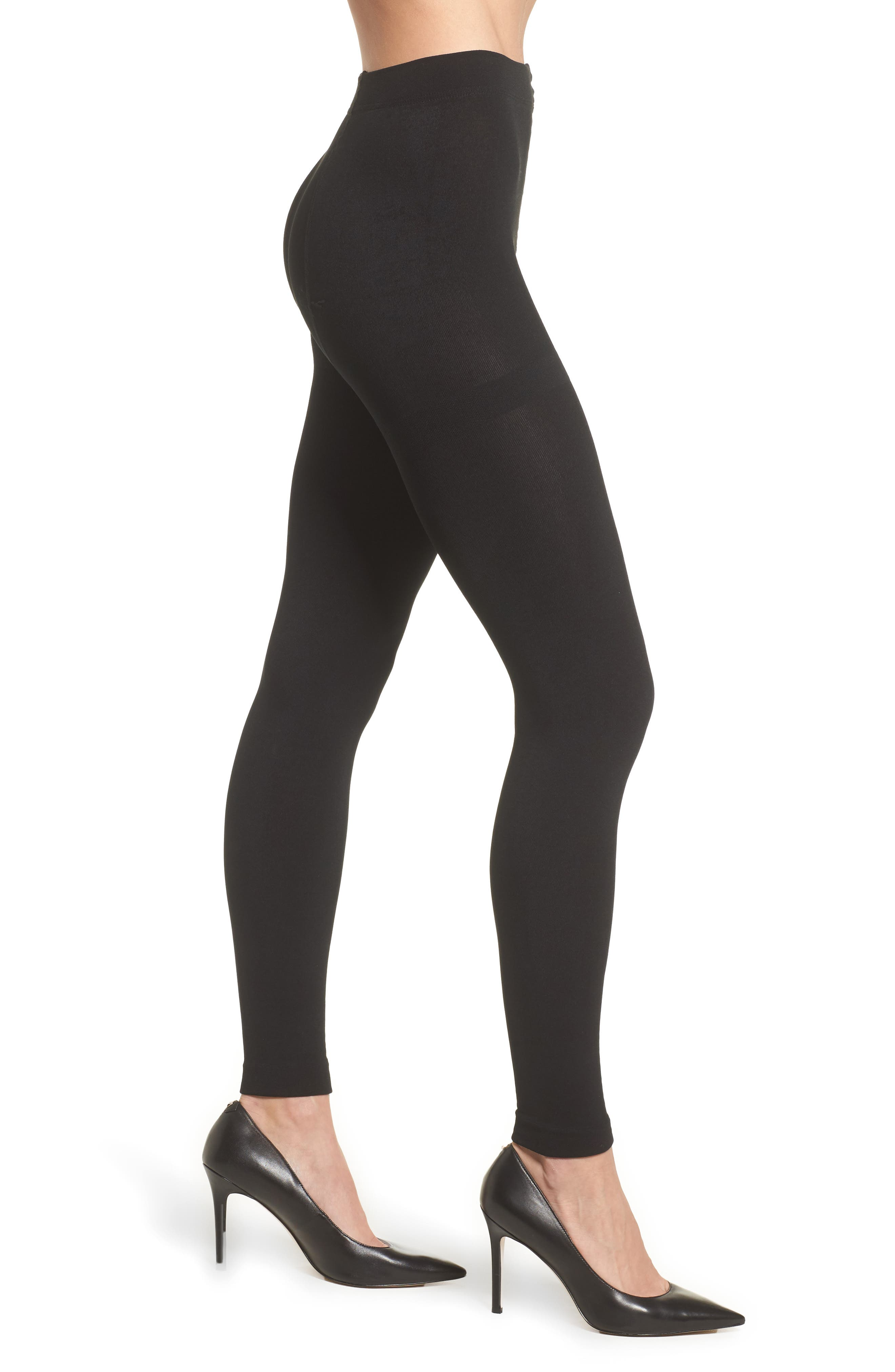 Fleece Lined Footless Tights,                         Main,                         color, BLACK