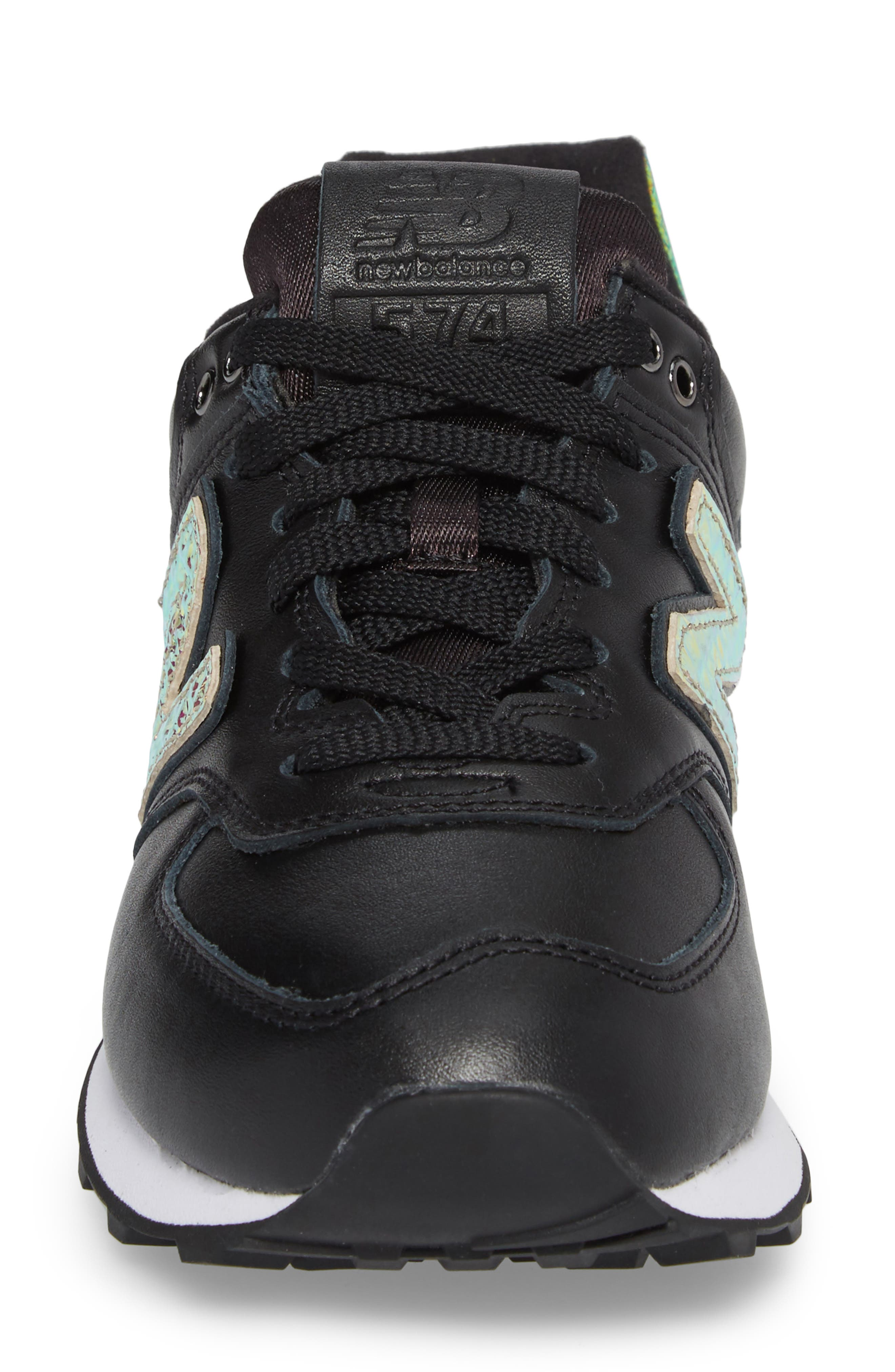 574 Glitter Punk Sneaker,                             Alternate thumbnail 4, color,                             001