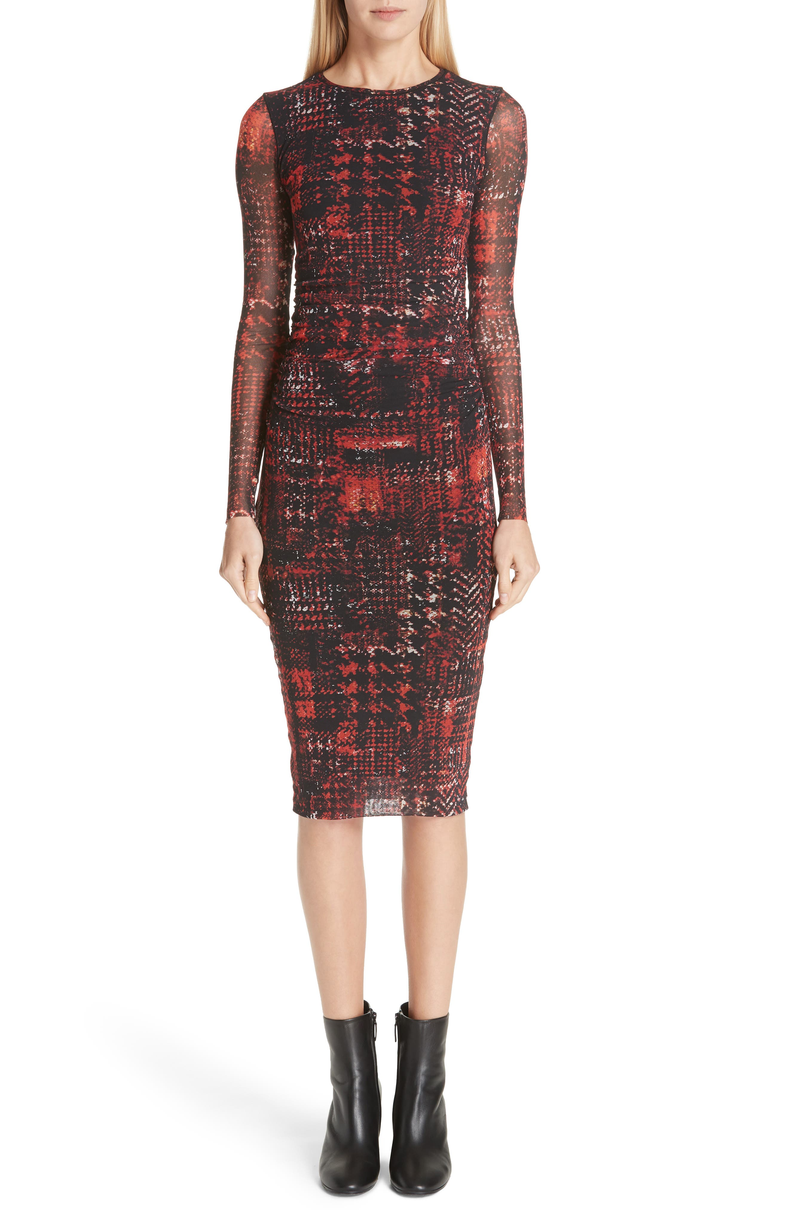 Fuzzi Long Sleeve Plaid Tulle Dress, Red