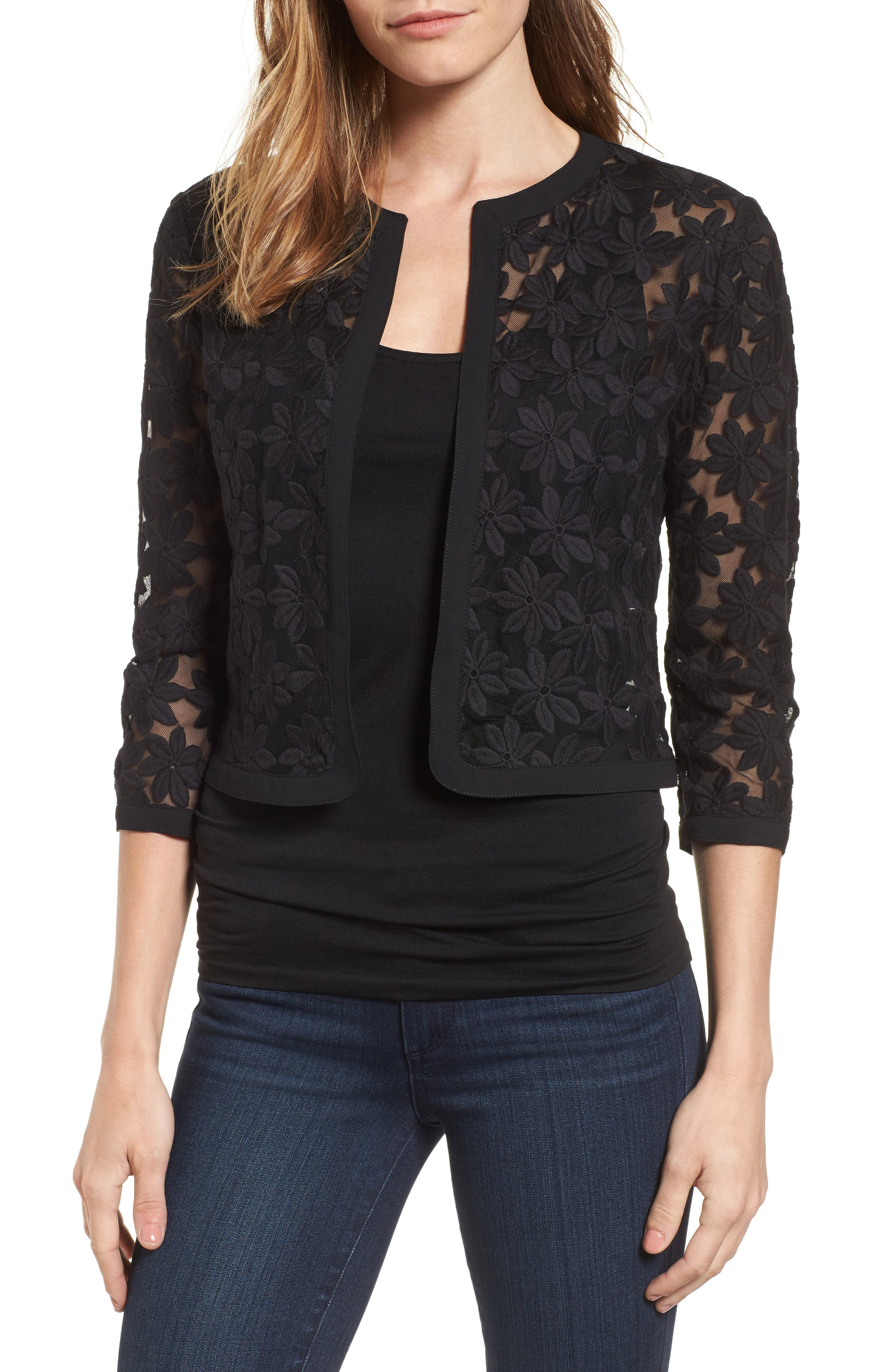 Floral Embroidered Mesh Cardigan,                             Main thumbnail 1, color,                             BLACK